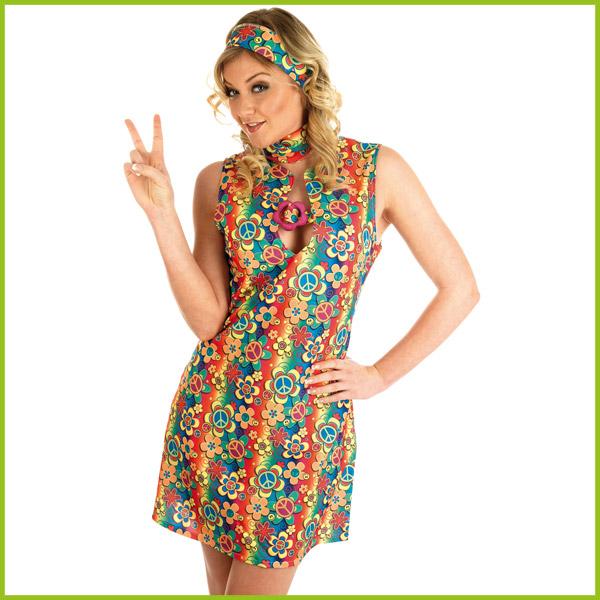 damen kost m friedenssymbol blumen hippie outfit. Black Bedroom Furniture Sets. Home Design Ideas