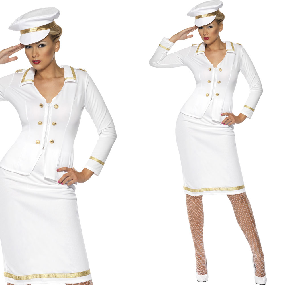 Ladies-Navy-Fancy-Dress-Costume-Naval-Officer-Captain-Military-Sailor-Outfit