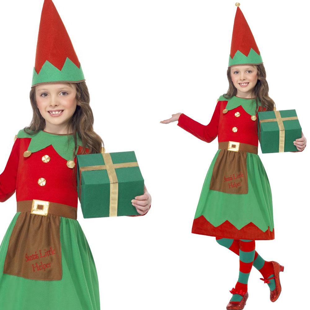 Kids Elf Costume - Girls Elf Dress + Hat Childrens Christmas Fancy ...