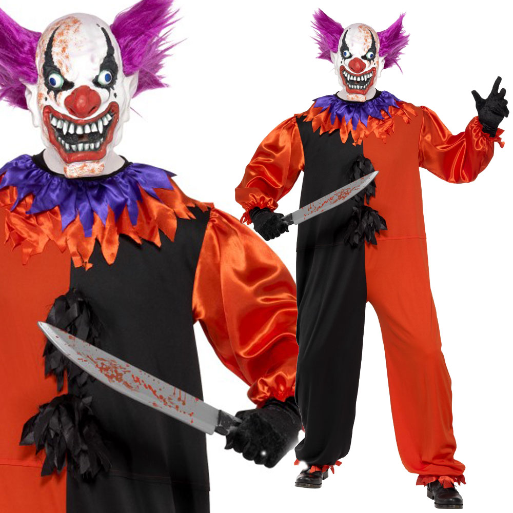 Scary Clown Costume - Halloween Circus Horror Fancy Dress - Bo Bo ...