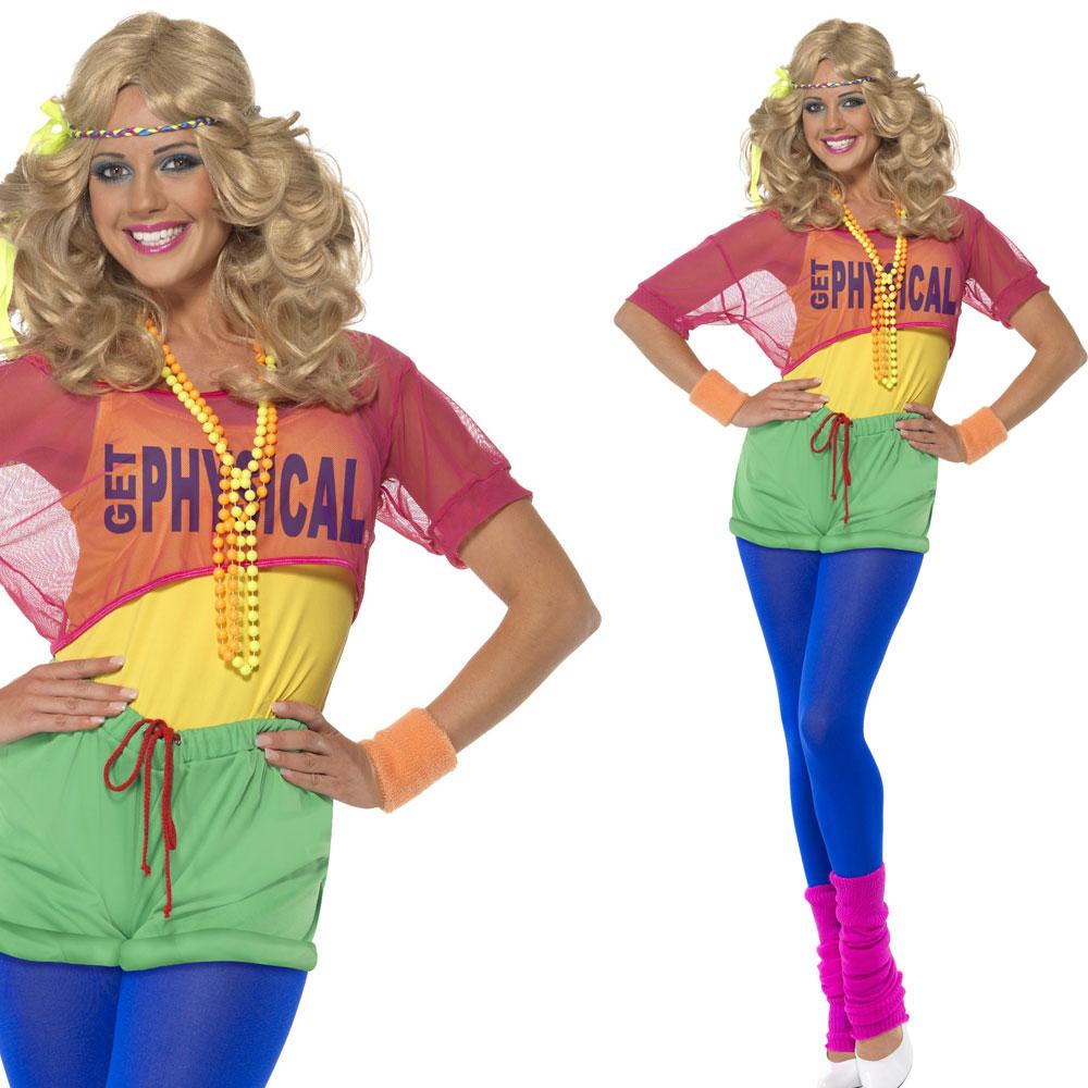 Ladies 80s Neon Fancy Dress Costume 1980s Let S Get