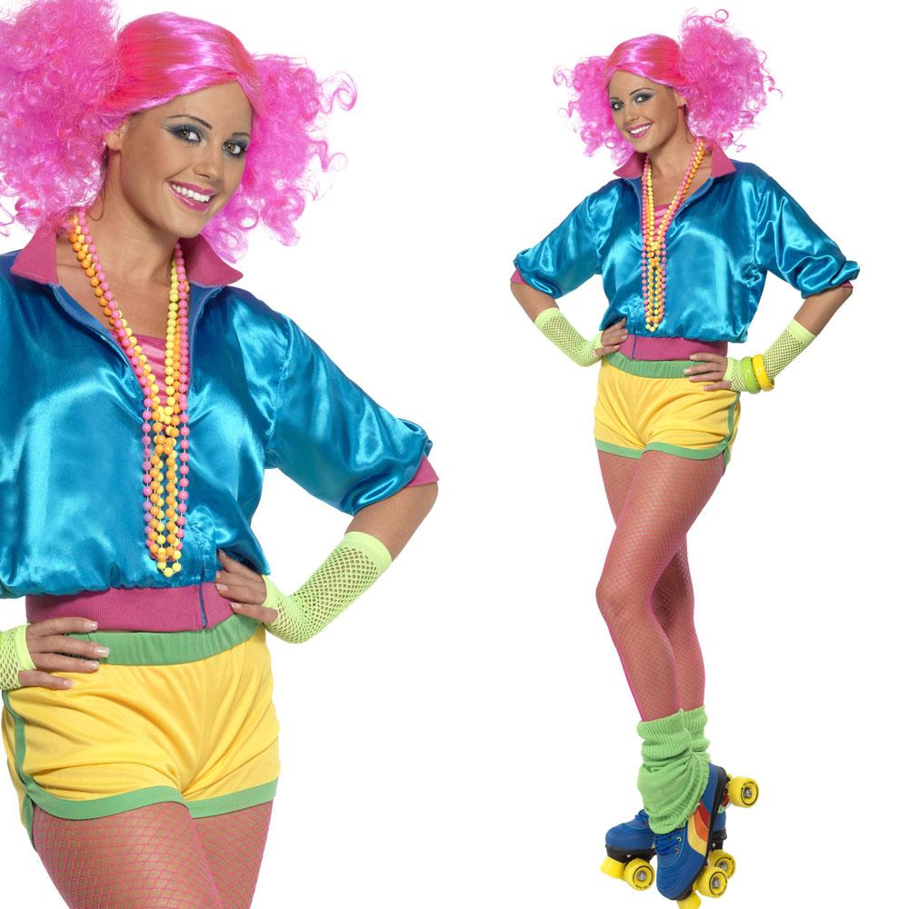 ladies 80s fancy dress costume neon skater girl 1980s. Black Bedroom Furniture Sets. Home Design Ideas