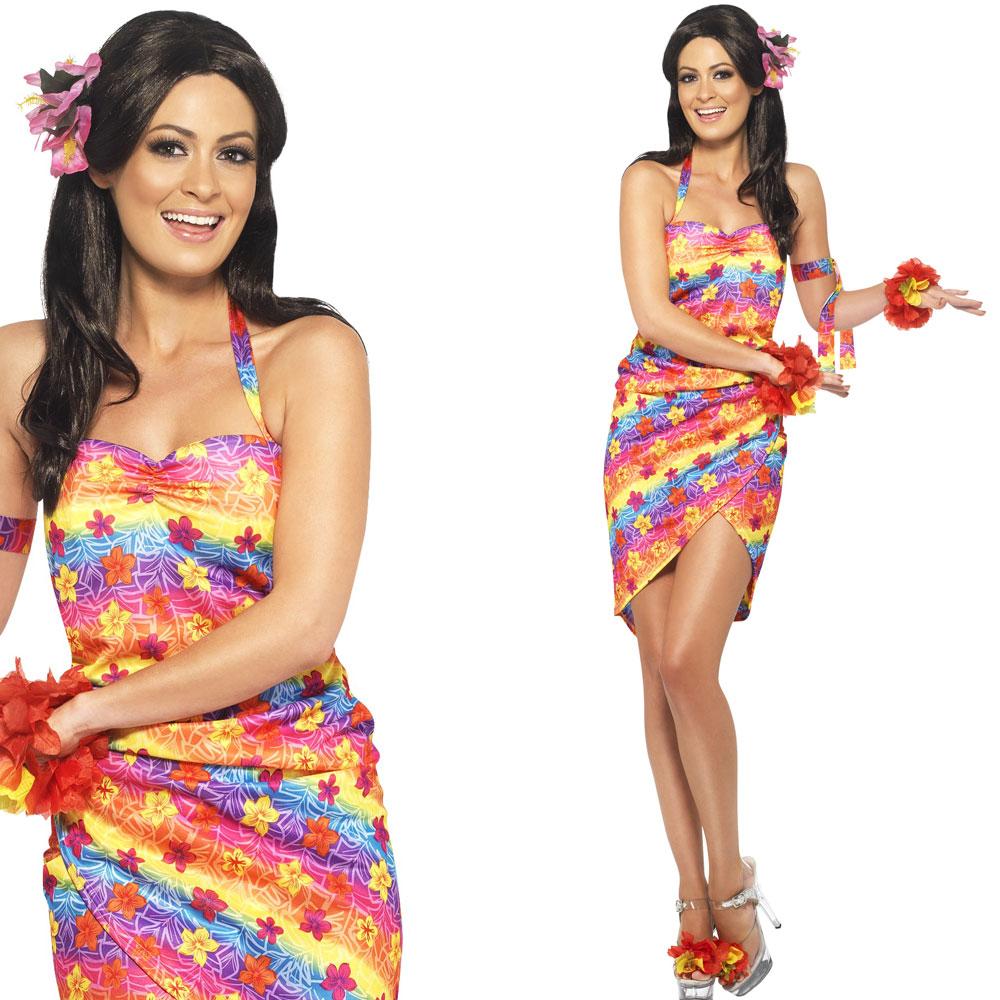 Womenu2019s Hawaiian Dress Fancy Dress Costume u2013 Ladies Summer Luau Flower Outfit   eBay