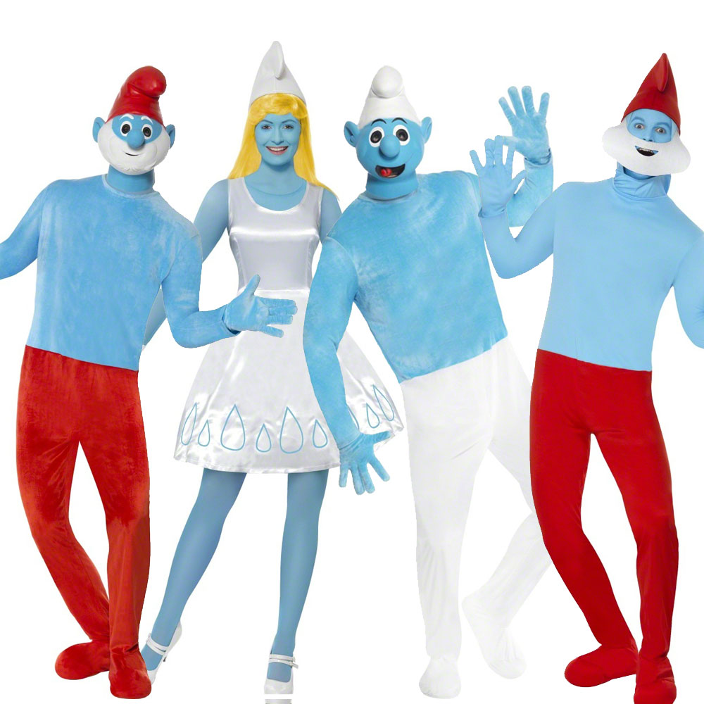 Smurfs Cartoon Characters 80 S : Mens ladies official papa smurf smurfette fancy dress
