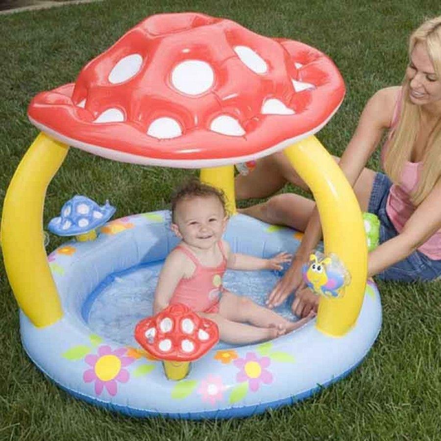 Intex inflatable mushroom baby toddler garden paddling for Baby garden pool
