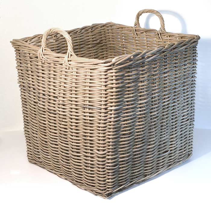 Fireside Square Wicker Log Toy Basket Extra Large Grey