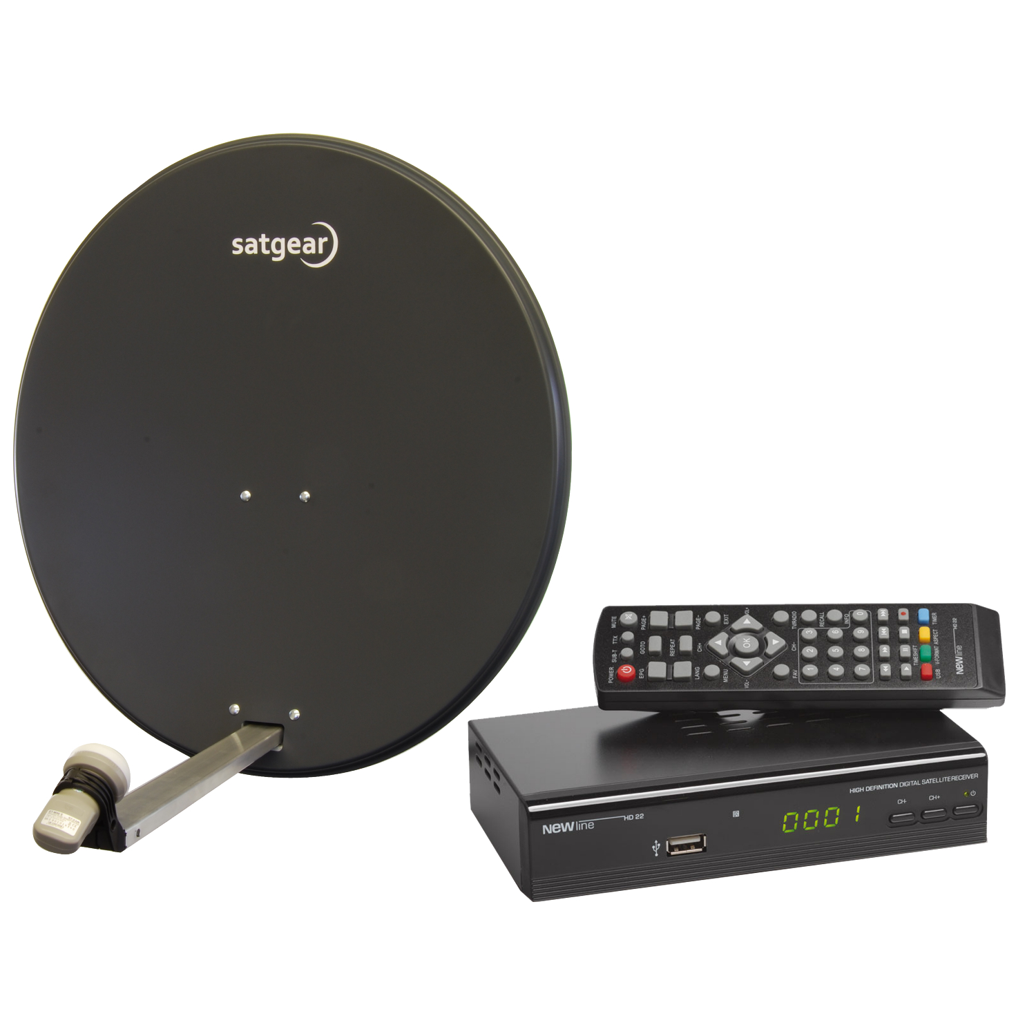 Details about satgear 65cm grey satellite dish amp hd receiver kit for