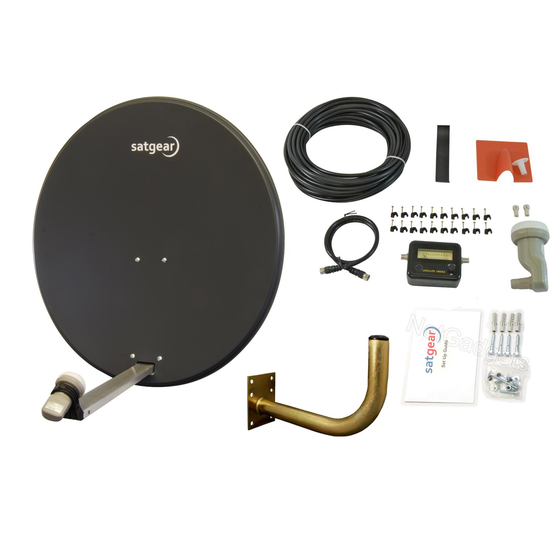 80cm Motorised Satellite Dish Kit With Satfinder Single