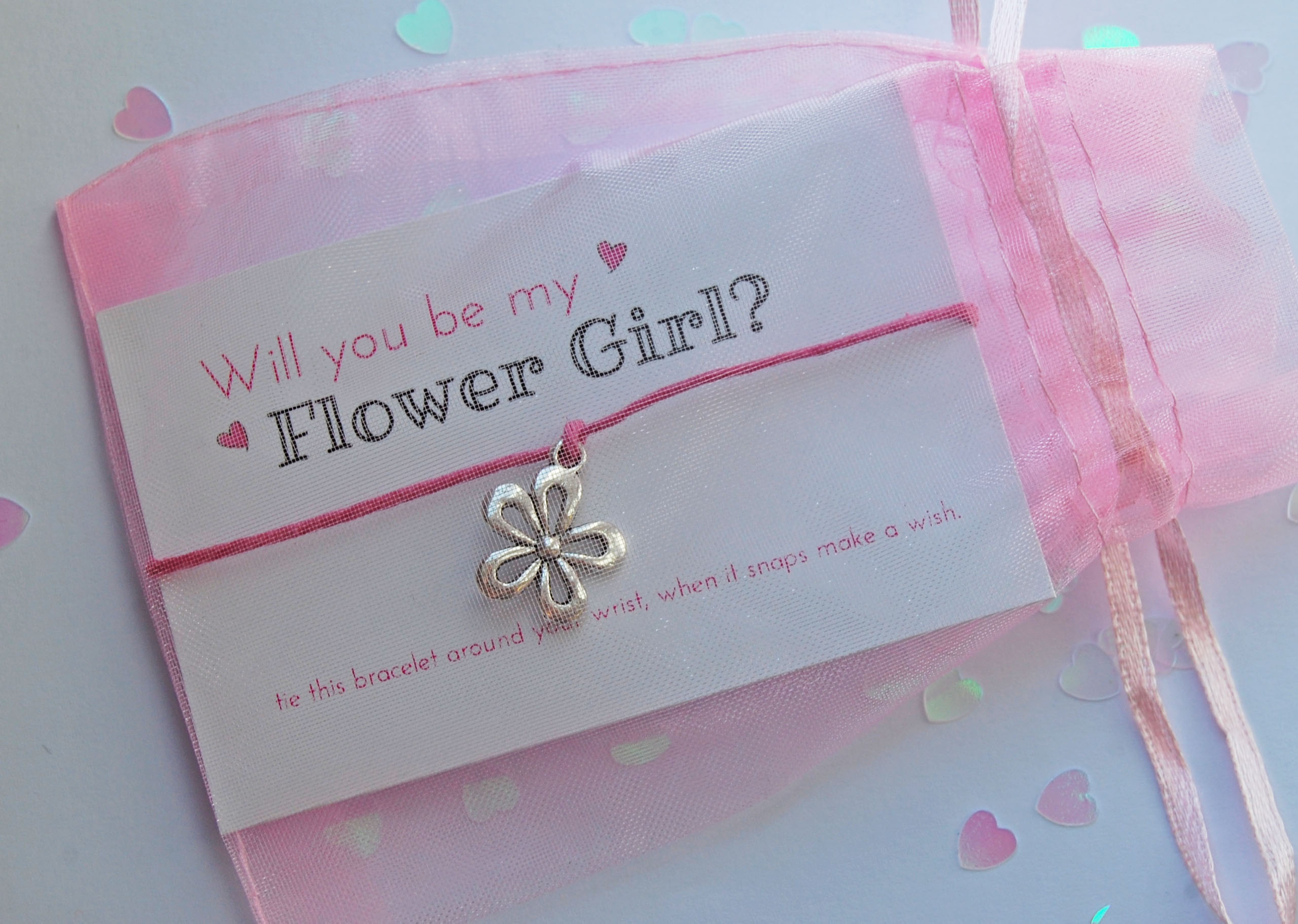Childs Will You Be My Flower Girl Wish Bracelet Wedding Invitation Favour Gift