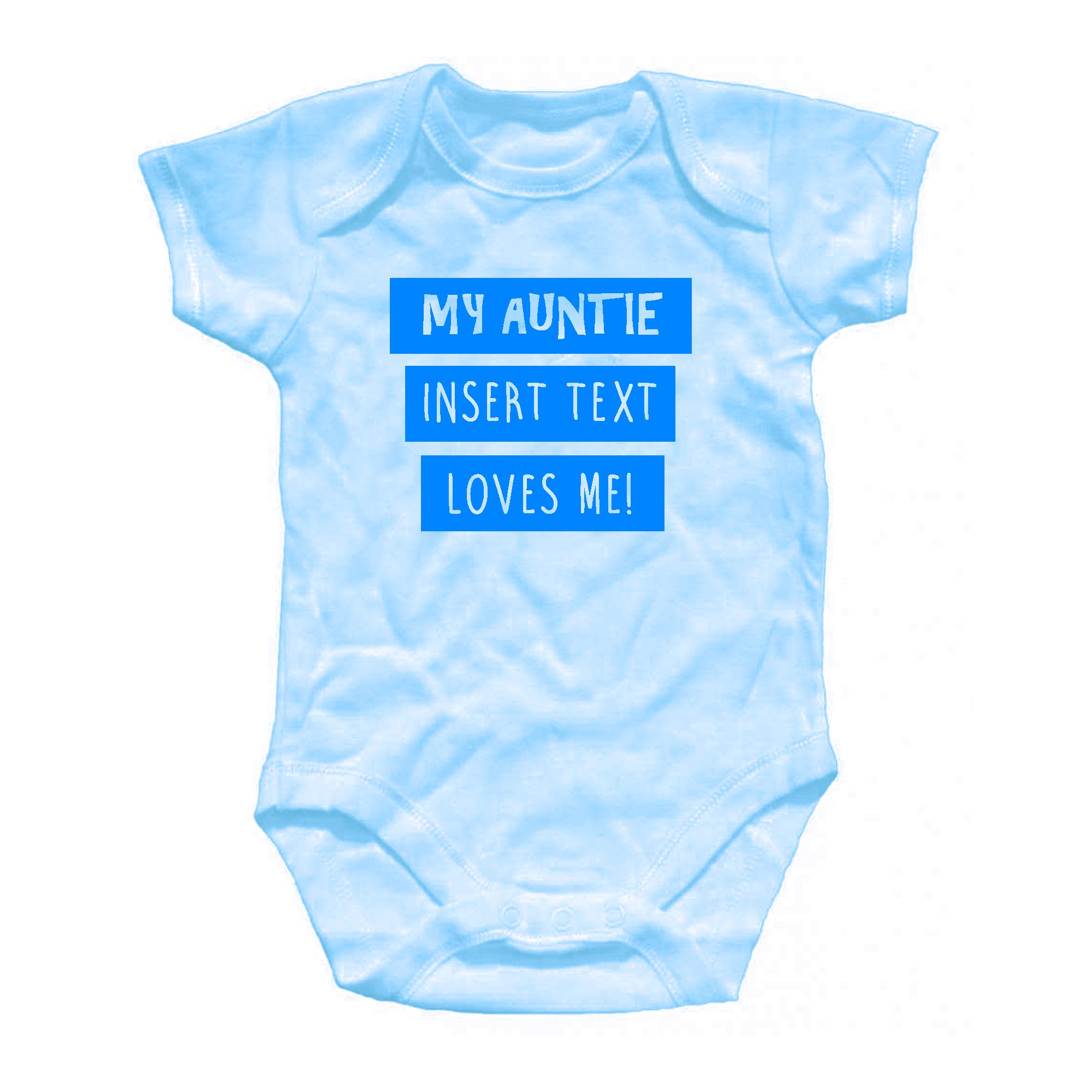 Personalised auntie loves me baby grow onesie all in one blue pink personalised auntie loves me baby grow onesie all negle Image collections
