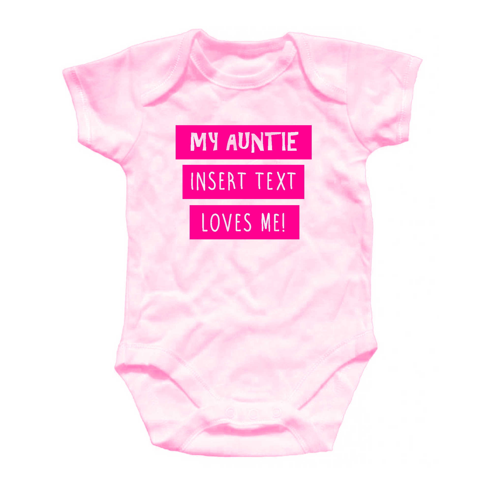 Personalised Auntie Loves Me Baby Grow esie All in e Blue Pink