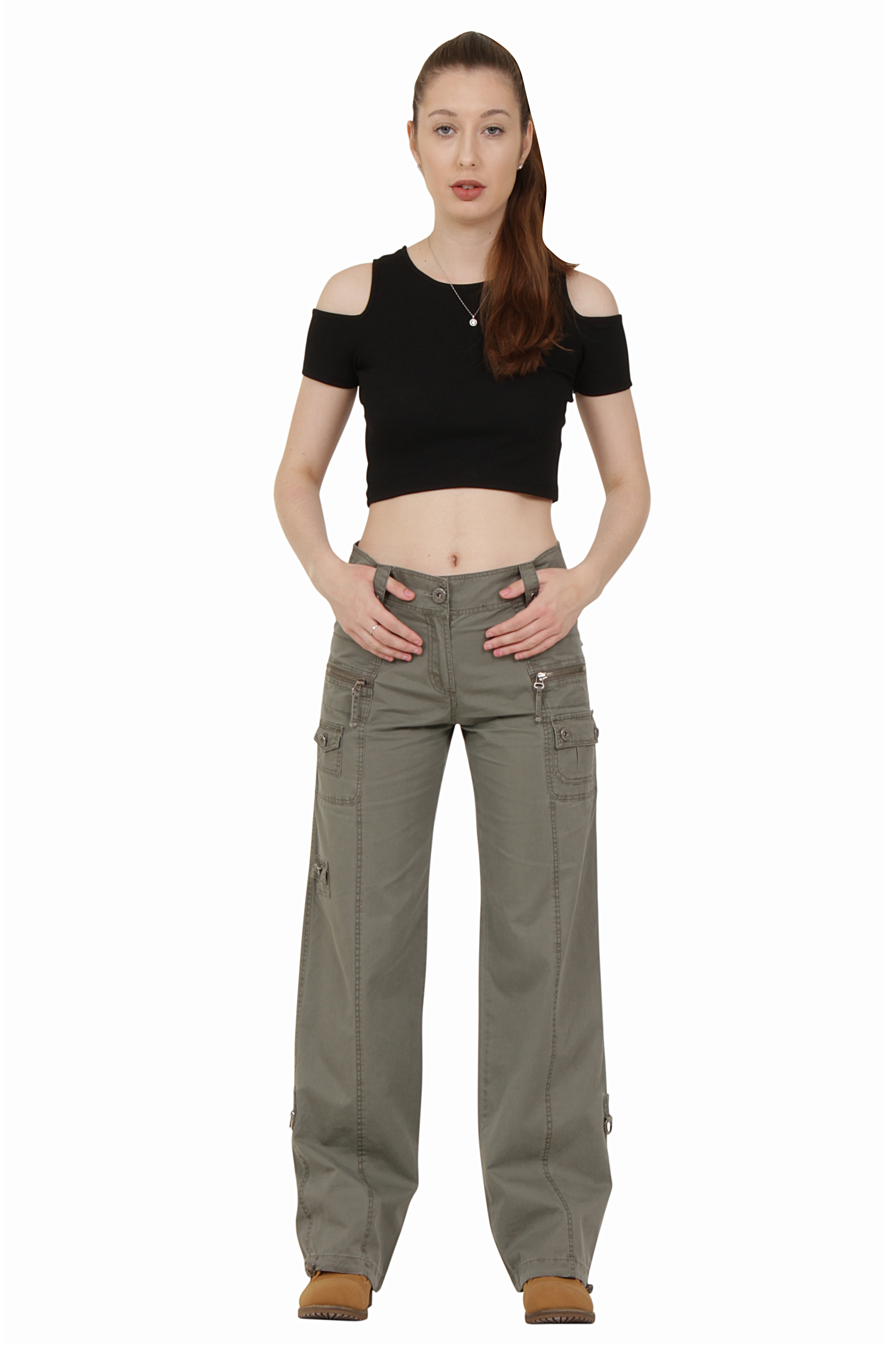 Popular Womens Military Army Fashion Green Cargo Pocket Pants Leisure Trousers