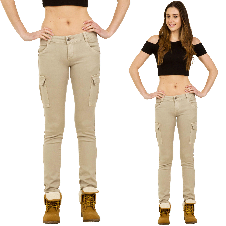 Original  Womens Low Rise Green Slim Skinny Stretch Combat Pants Cargo Trousers