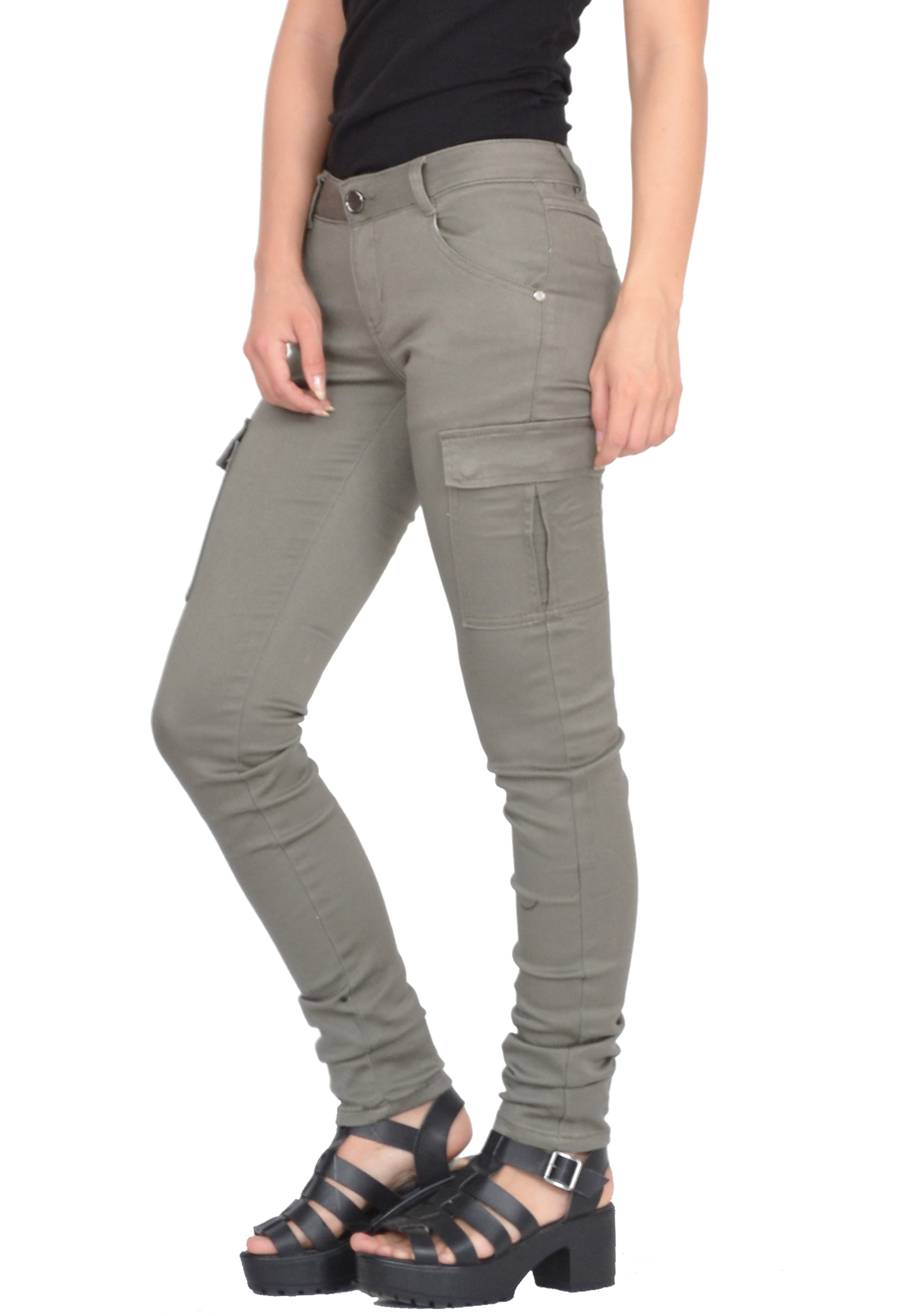 New Ladies Womens Green Slim Fitted Combat Pants Skinny Cargo ...
