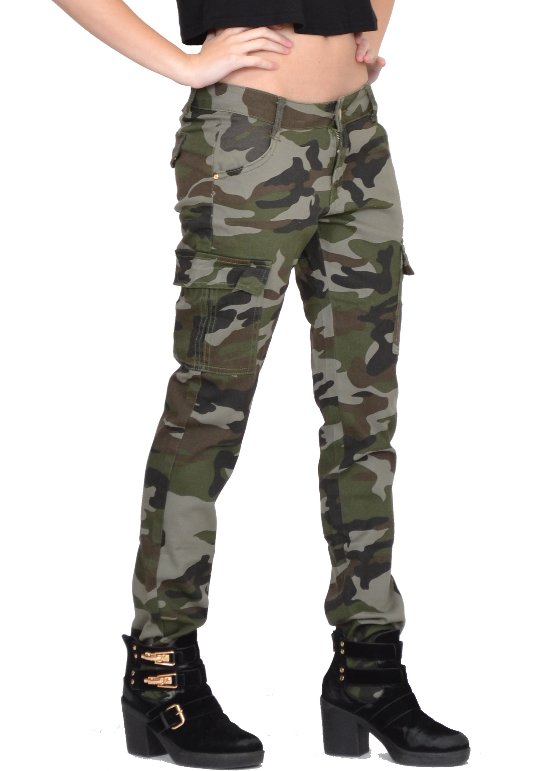 Innovative Womens Army Military Green Camouflage Slim Fit Combat Trousers Cargo