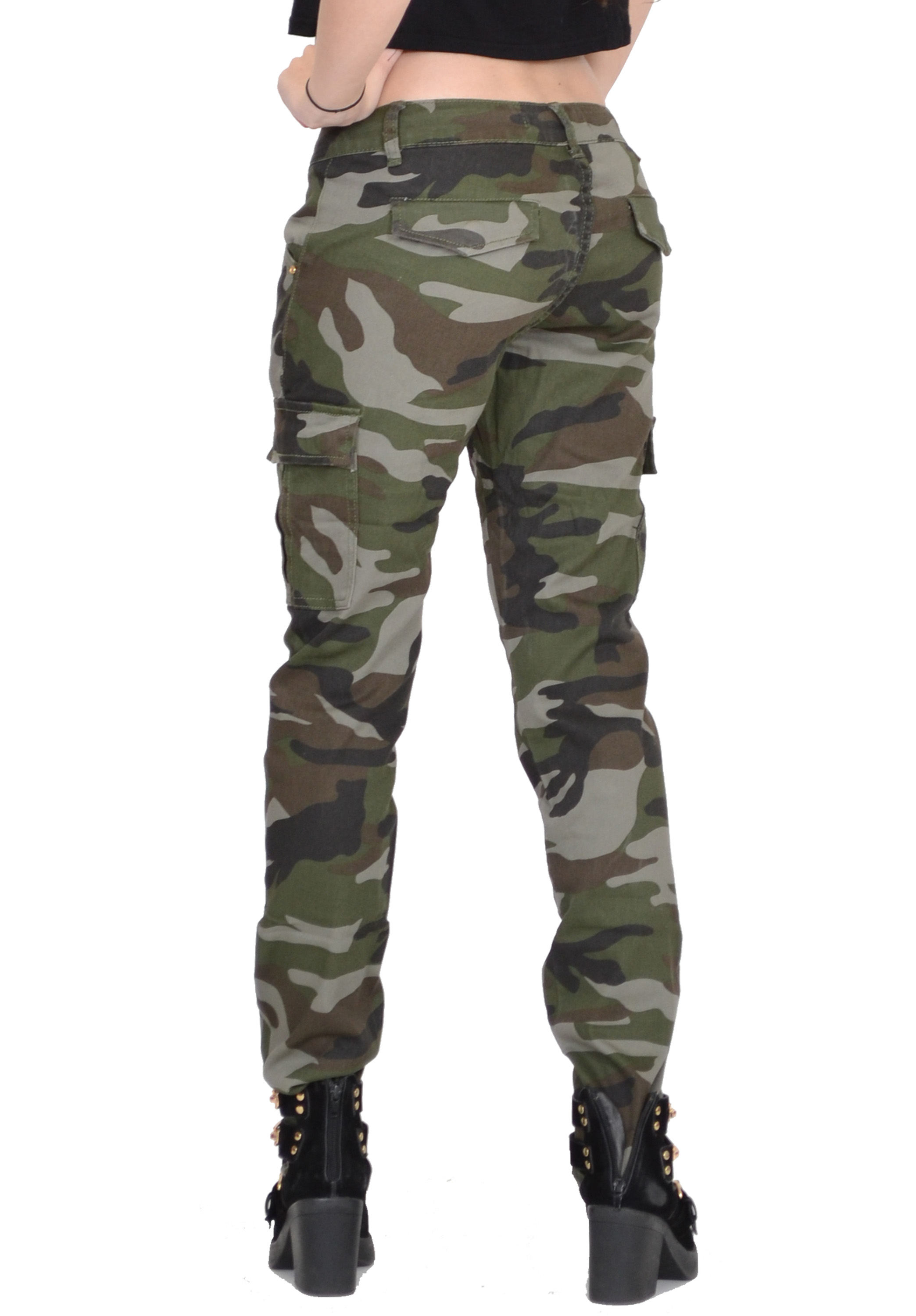 Perfect Fashion Women Military Army Green Cargo Pocket Pants Leisure Trousers
