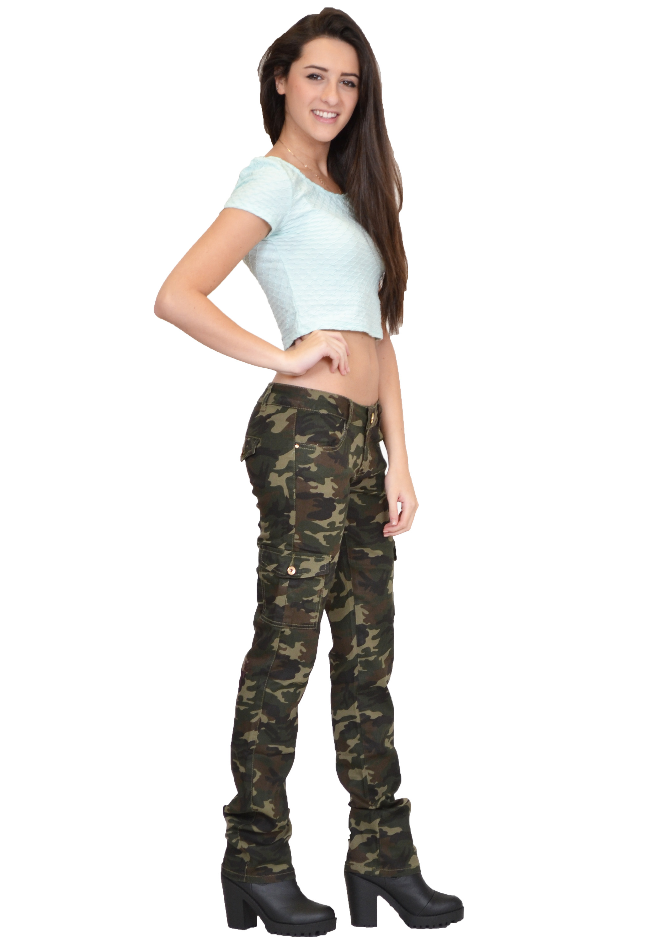 Fantastic  Womens Army Green Camouflage Wide Combat Trousers Cargo Jeans Pants