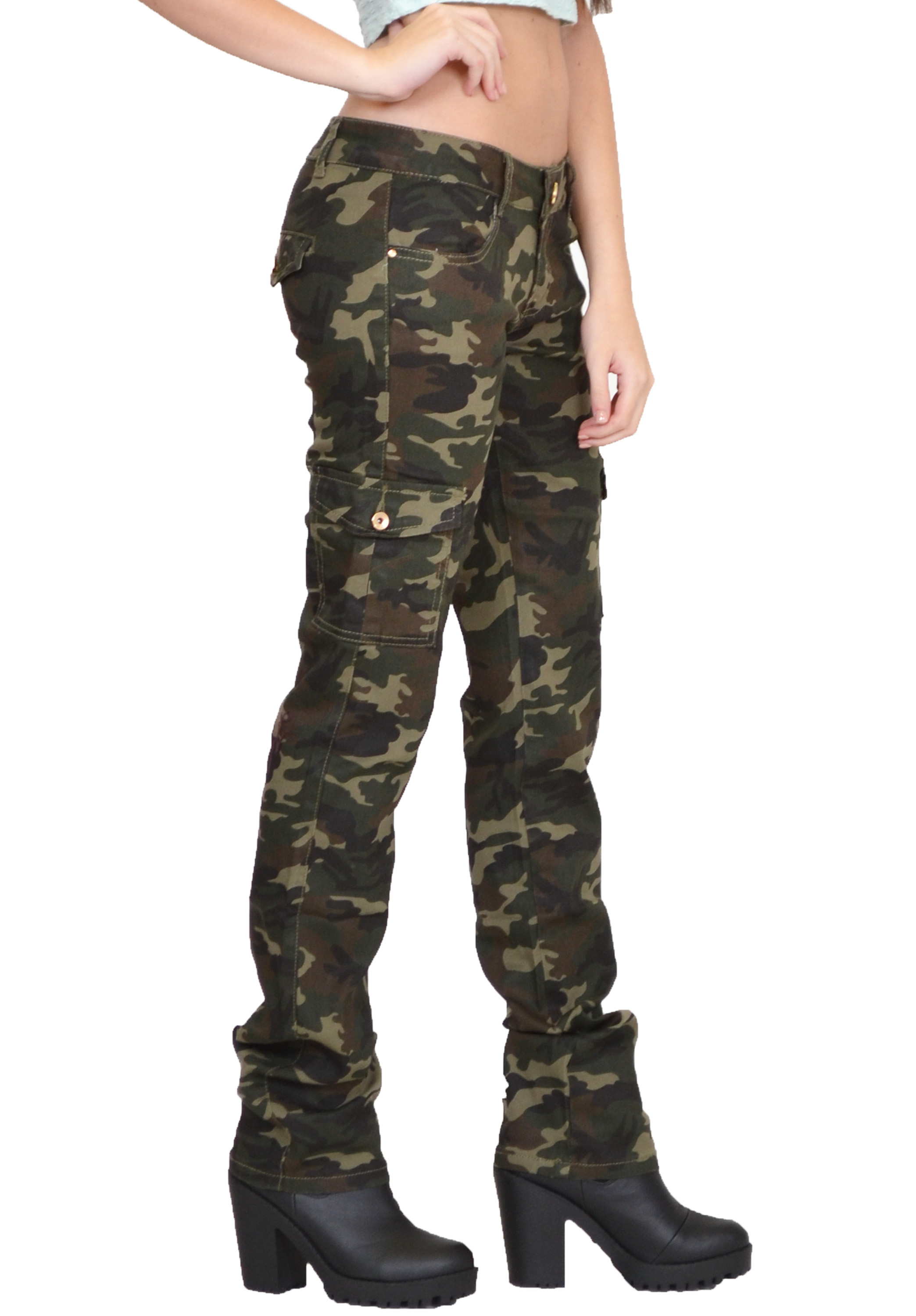 Womens Army Military Green Camouflage Slim Fit Combat Trousers ...