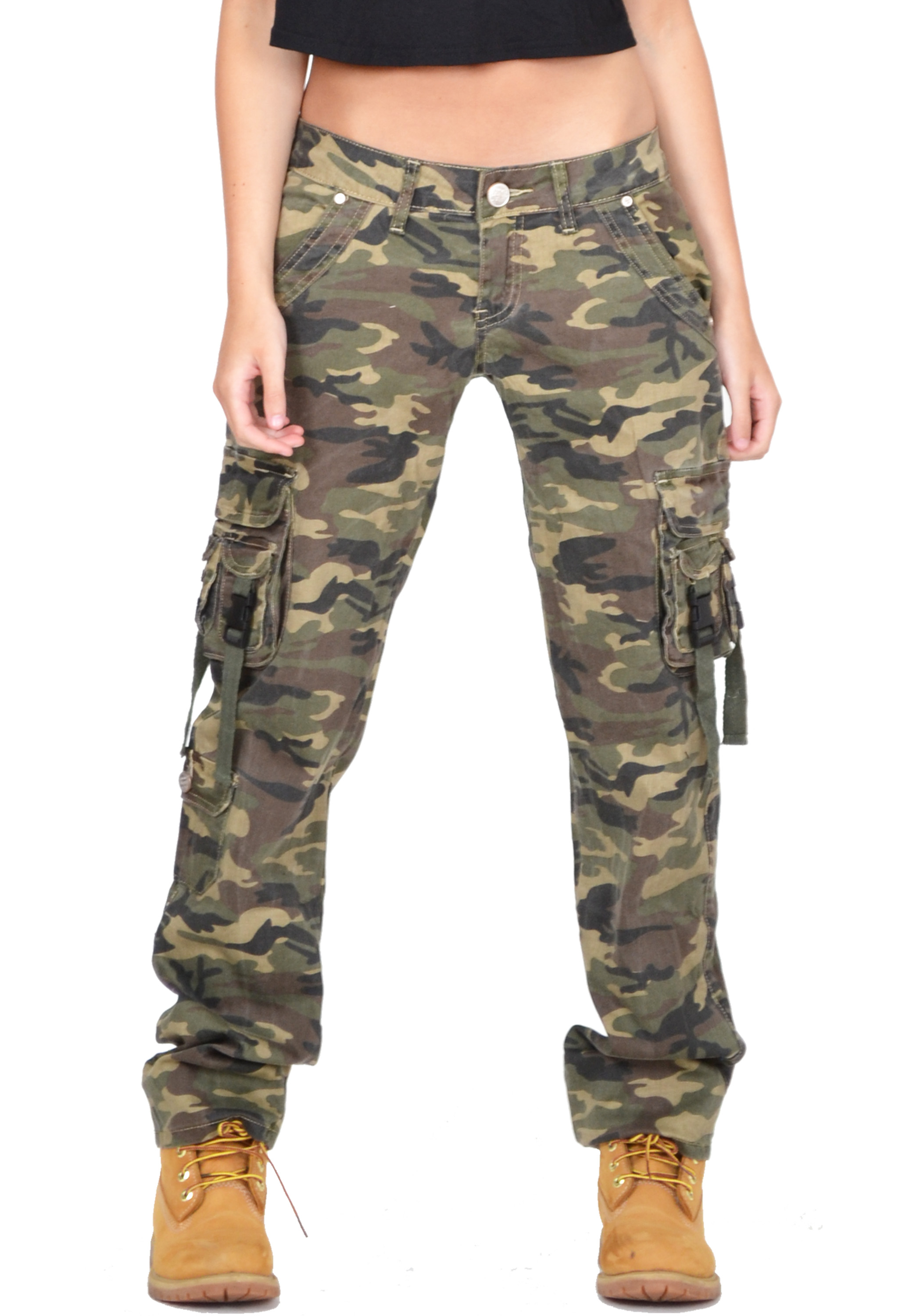 New Womens Army Green Baggy Loose Cargo Pants Wide Boyfriend Combat