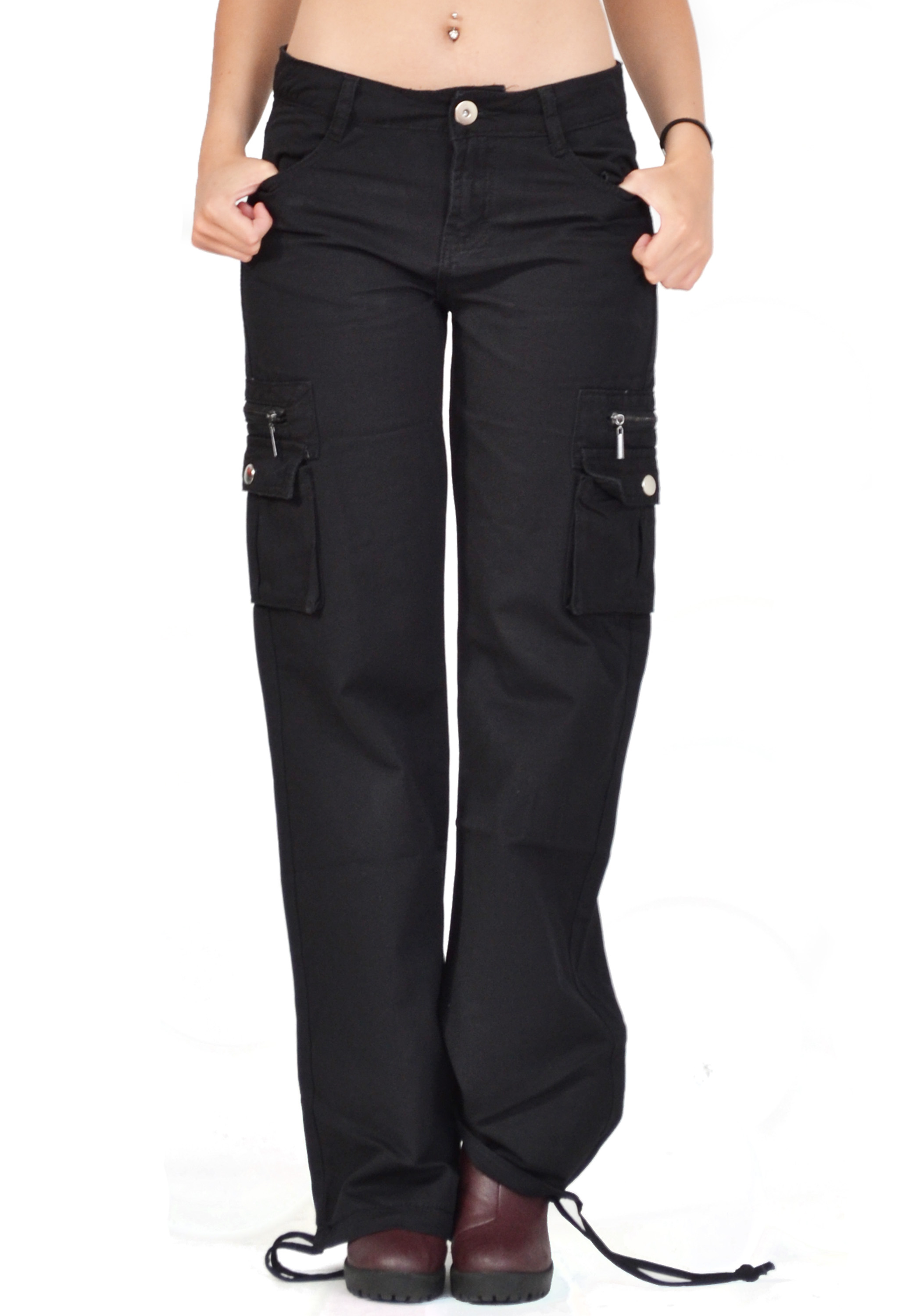 New Ladies Womens Black Wide Loose Combat Trousers Cargo Jeans ...
