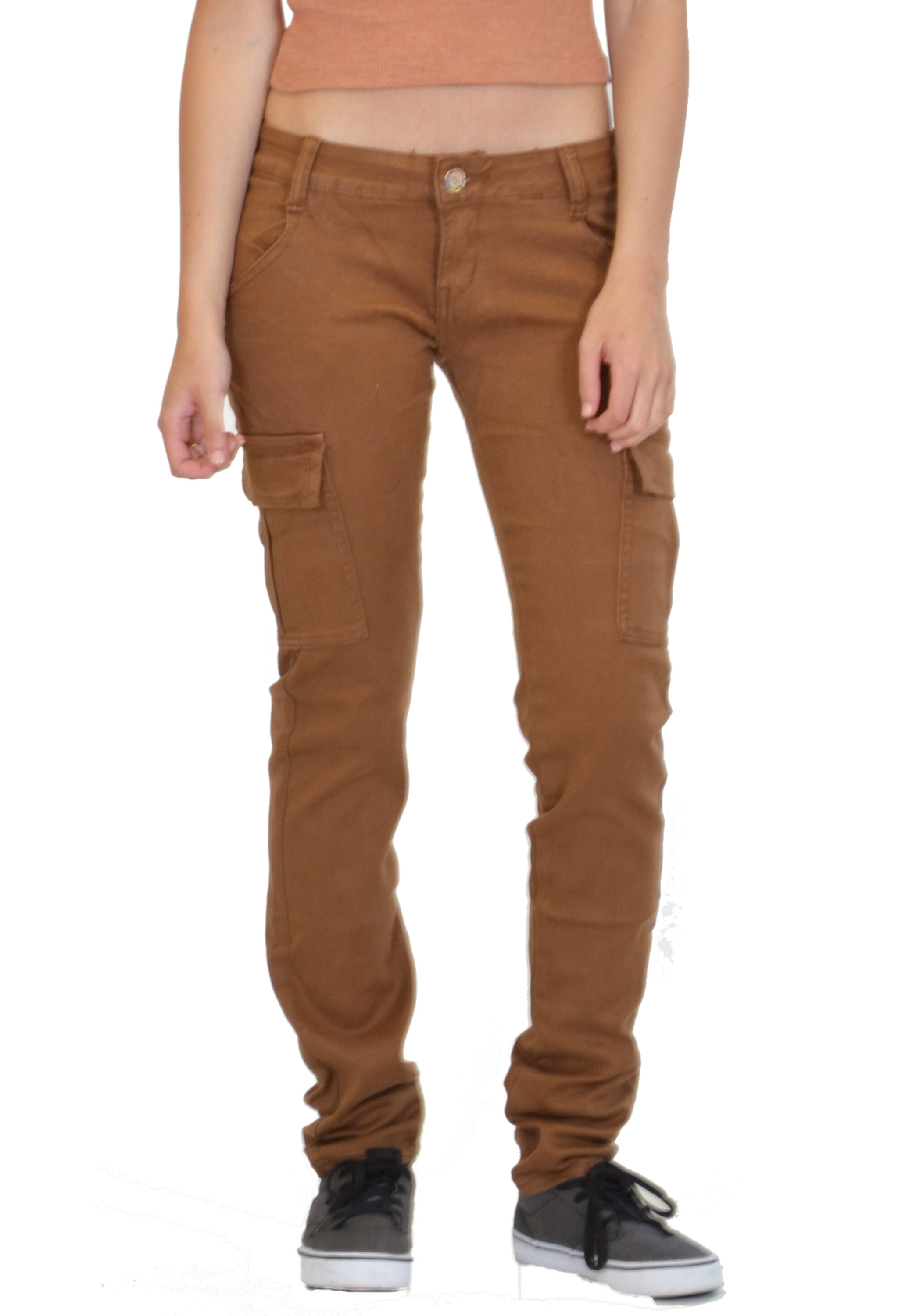 Popular New Ladies Womens Slim Skinny Fitted Stretch Combat Jeans Cargo Pants