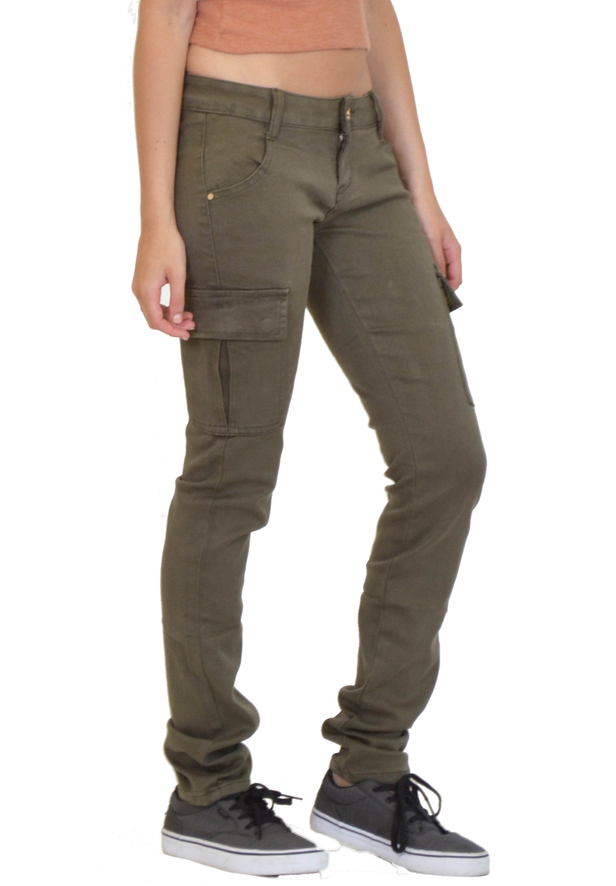Khaki skinny cargo pants are perfect for outdoor weekends. The trim profile makes hiking through the underbrush snag-free, and the side pockets still have plenty of room for critical gear, like your GPS.