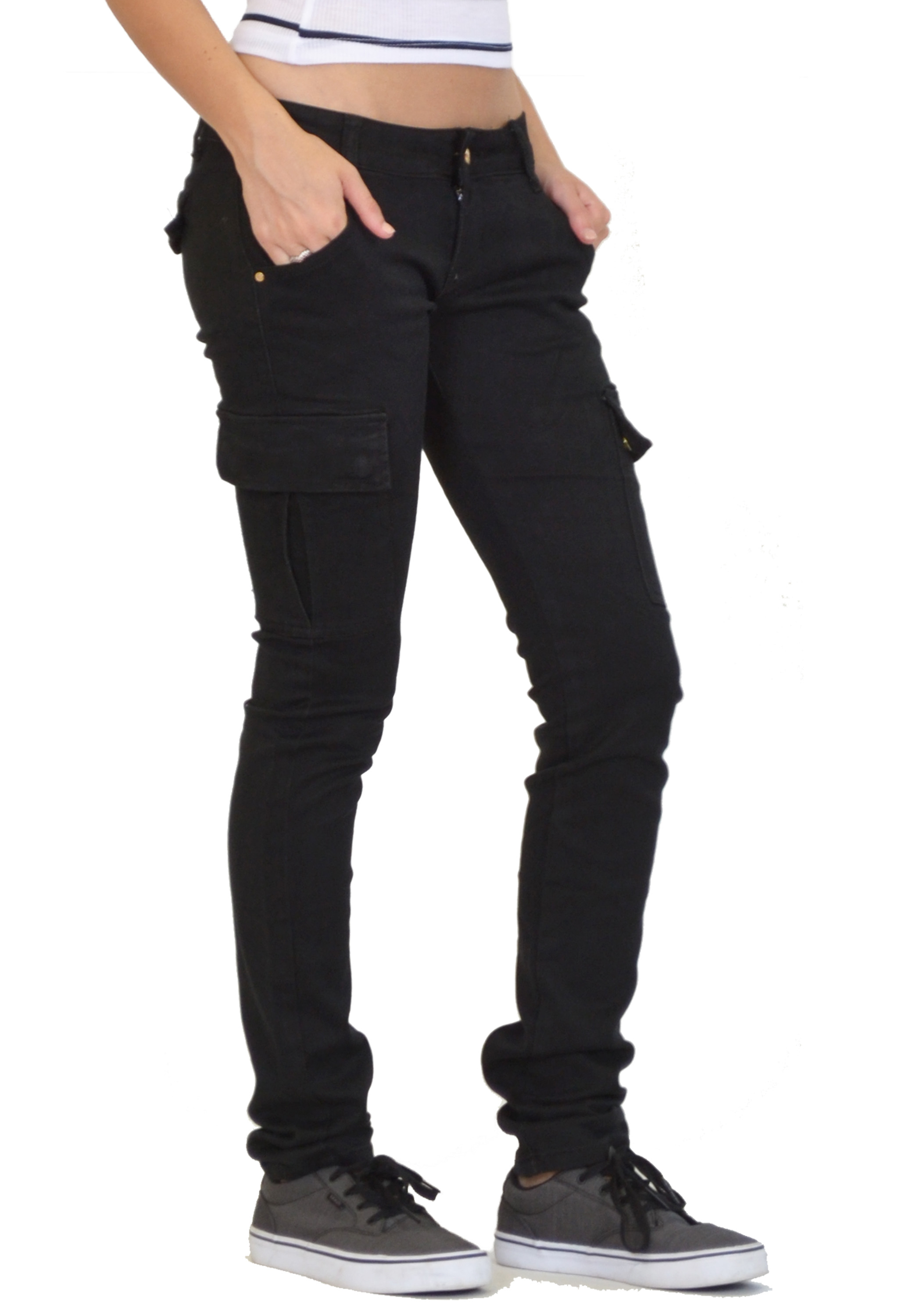 Brilliant New Ladies Womens Slim Fitted Stretch Combat Jeans Pants Skinny Cargo
