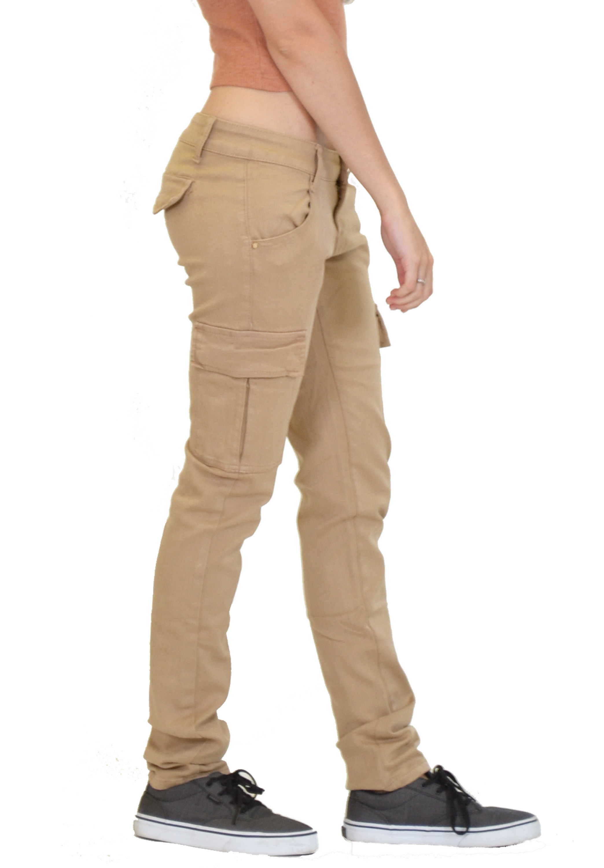 Model Details About New Womens Grey Slim Fitted Combat Pants Skinny Cargo
