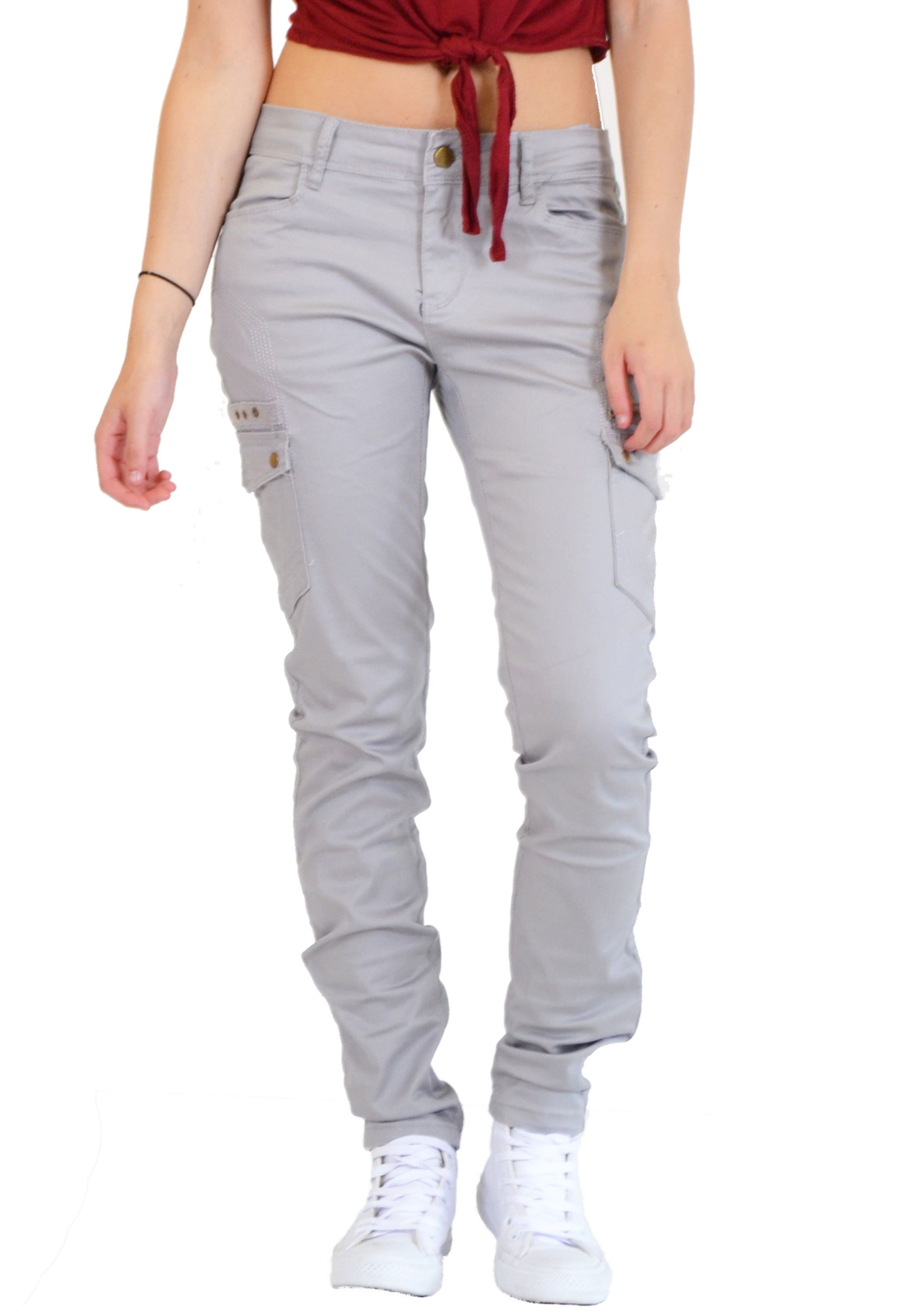 Model  Womens Red Slim Skinny Fitted Combat Jeans Trousers Cargo Pants  EBay