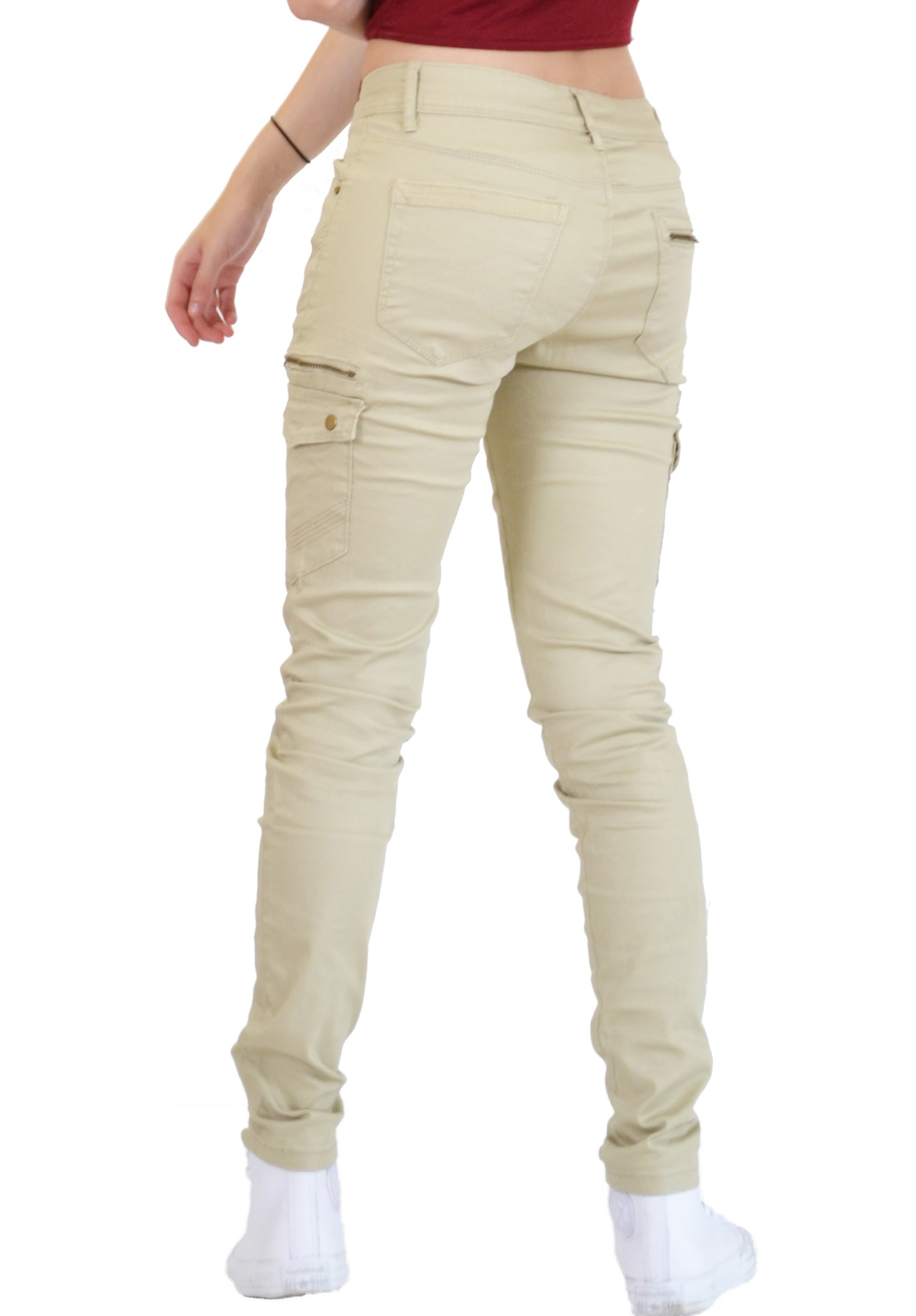 Wonderful New Ladies Womens Slim Fitted Stretch Combat Jeans Pants Skinny Cargo