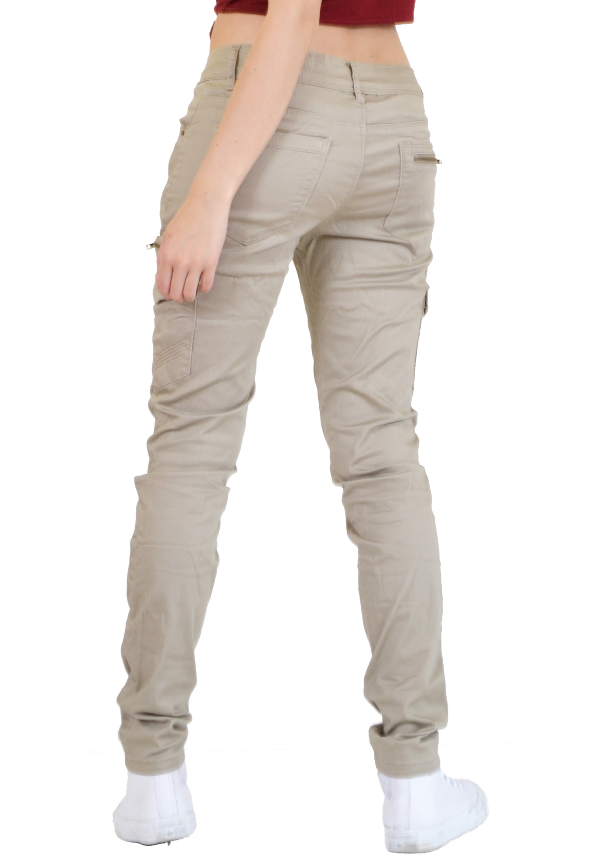 Model New Womens Grey Slim Fitted Combat Pants Skinny Cargo Trousers