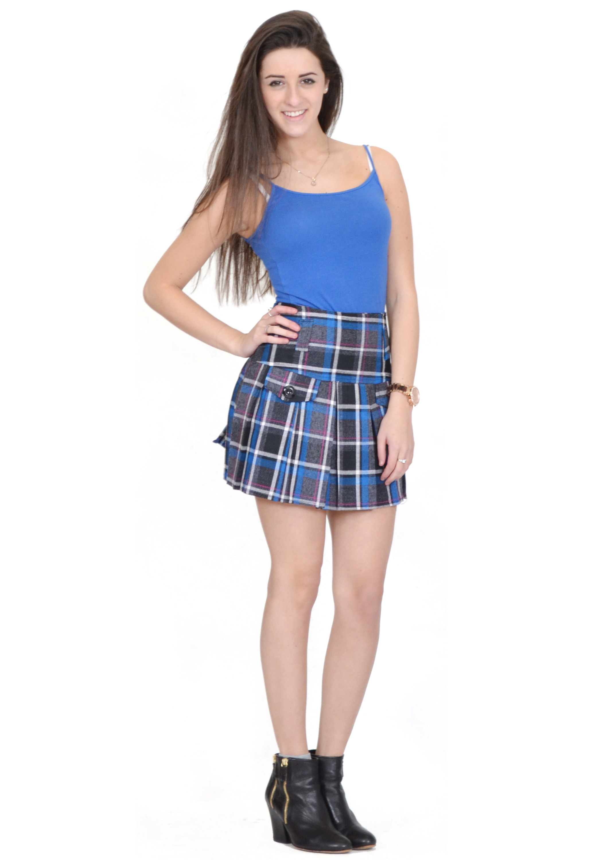 New Ladies Womens Blue & Grey Plaid Check Tartan Pleated Mini ...