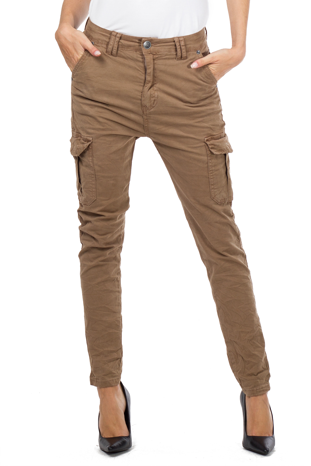 Black Red Brown /& Khaki Creased Cotton Slim Leg Cargo Combat Pants Trousers