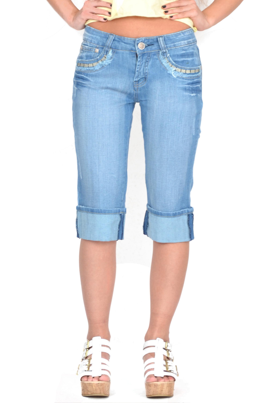 New Womens Ladies Blue Faded Long Denim Shorts Capri 3/4 Length ...