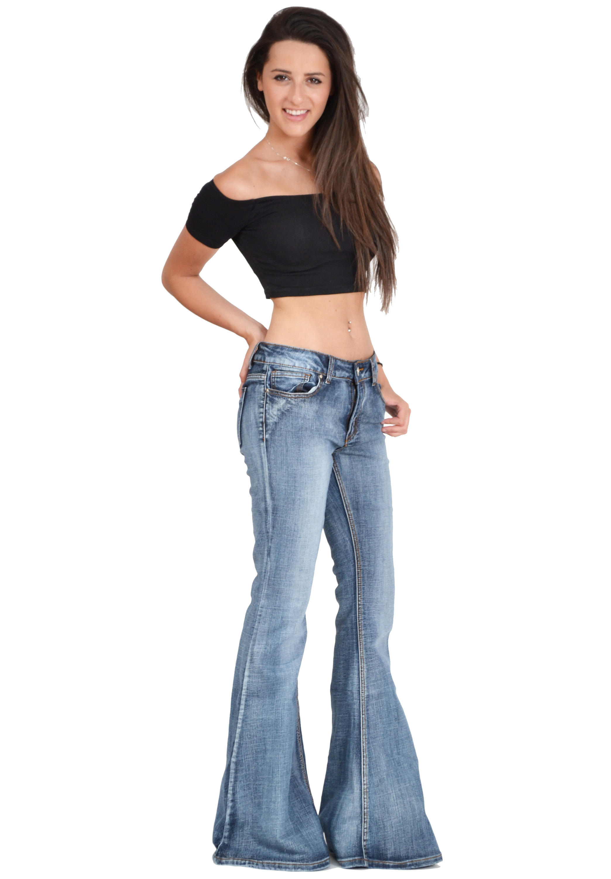 New womens 60s 70s blue faded bell bottoms hippy denim flares wide
