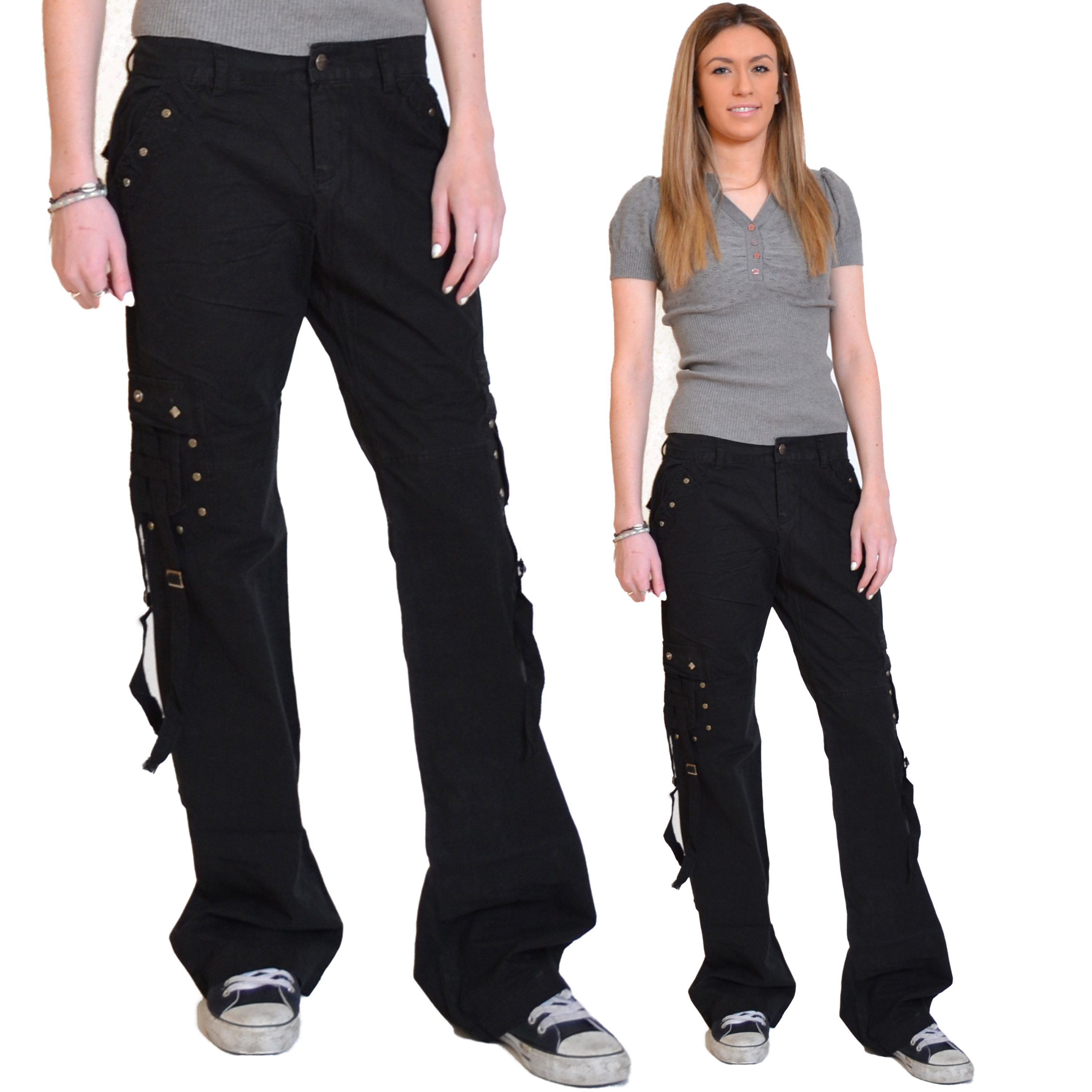 Beautiful New Ladies Womens Black Slim Fitted Stretch Combat Pants Skinny Cargo