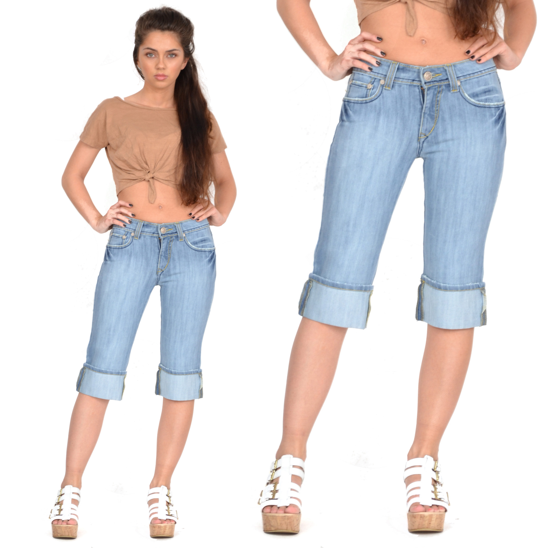 New Womens Light Blue Faded Long Denim Shorts Capri 3/4 Length ...