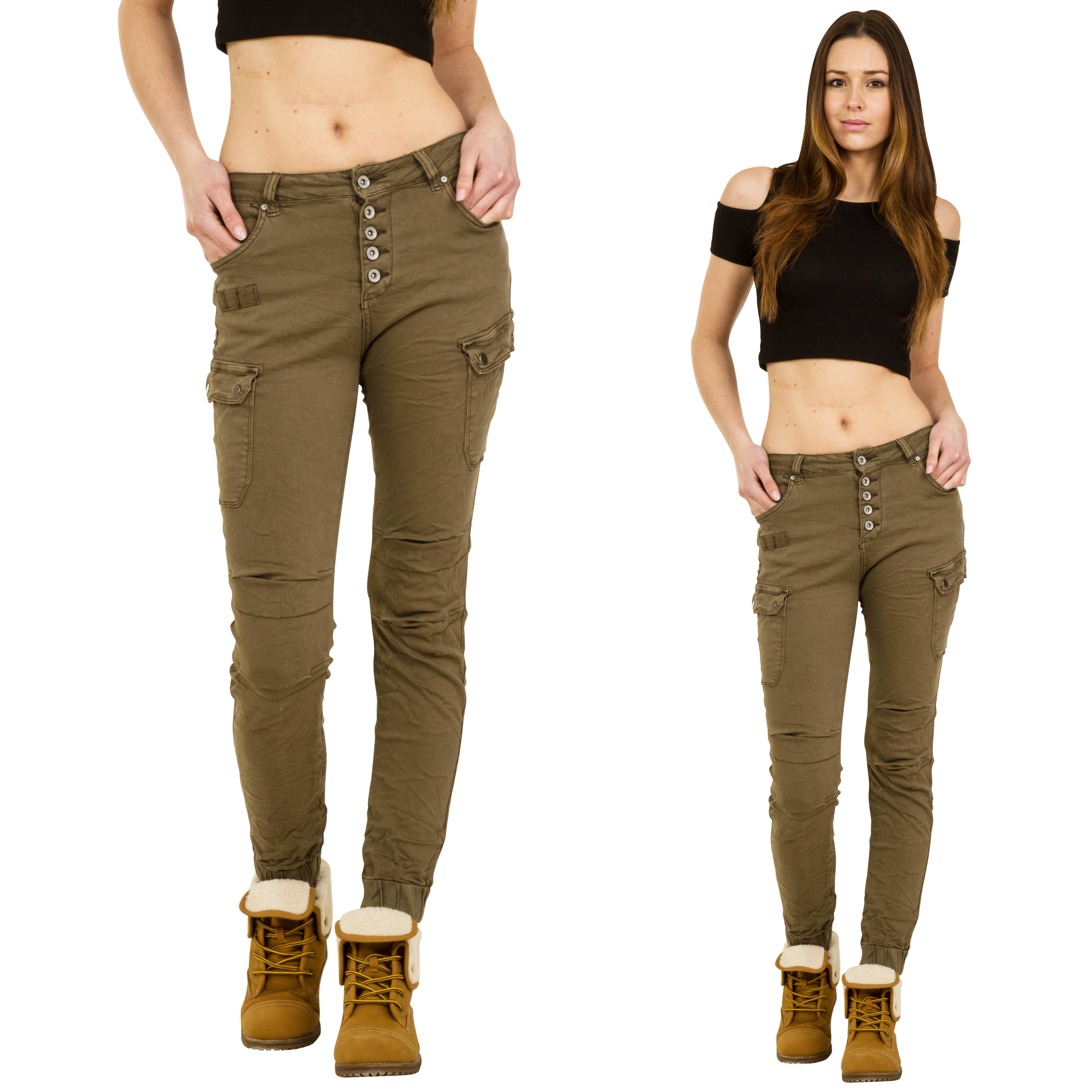Simple Details About New Womens Khaki Green Slim Combat Pants Skinny Cargo