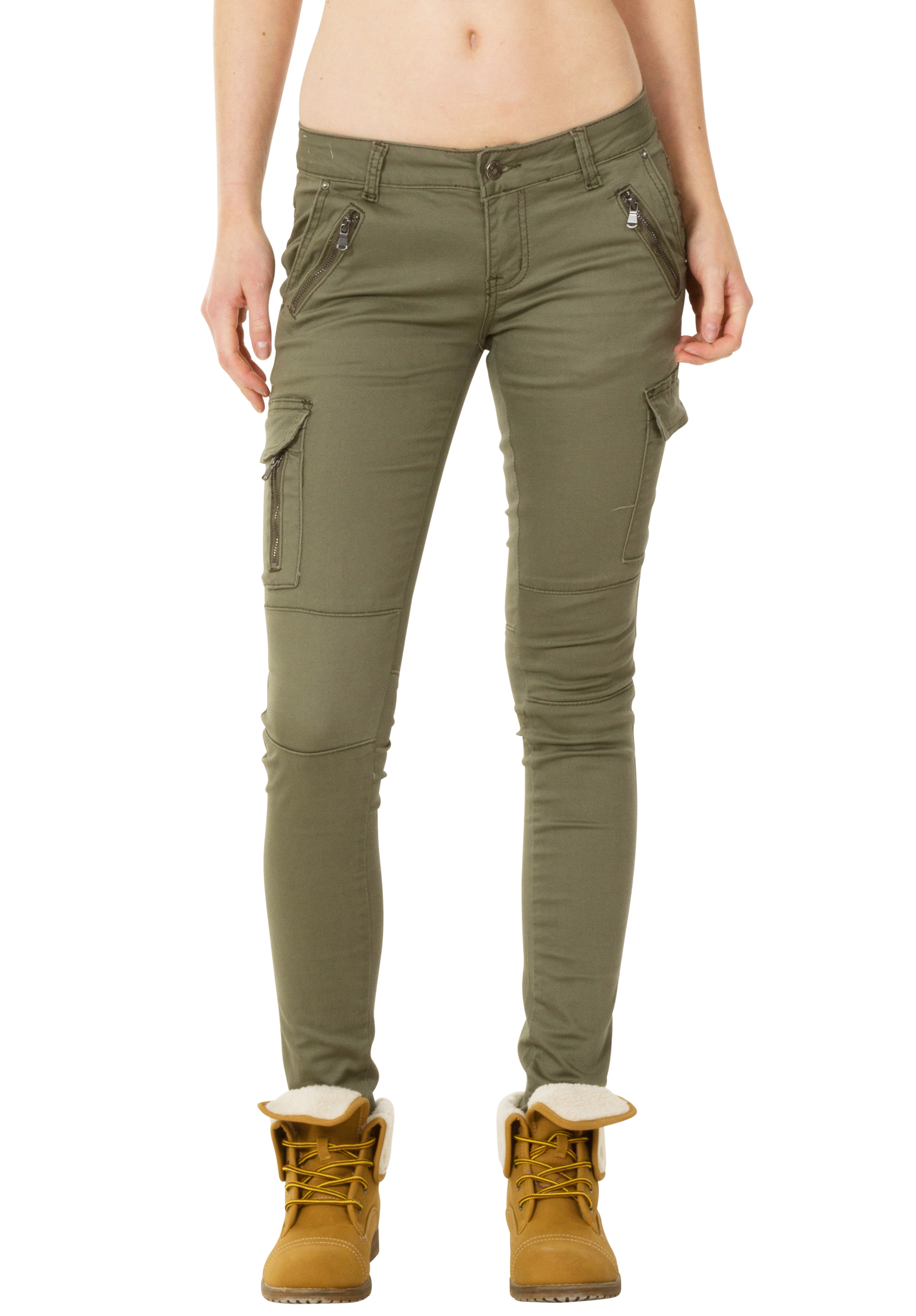 New Womens Low Rise Green Slim Skinny Stretch Combat Pants ...