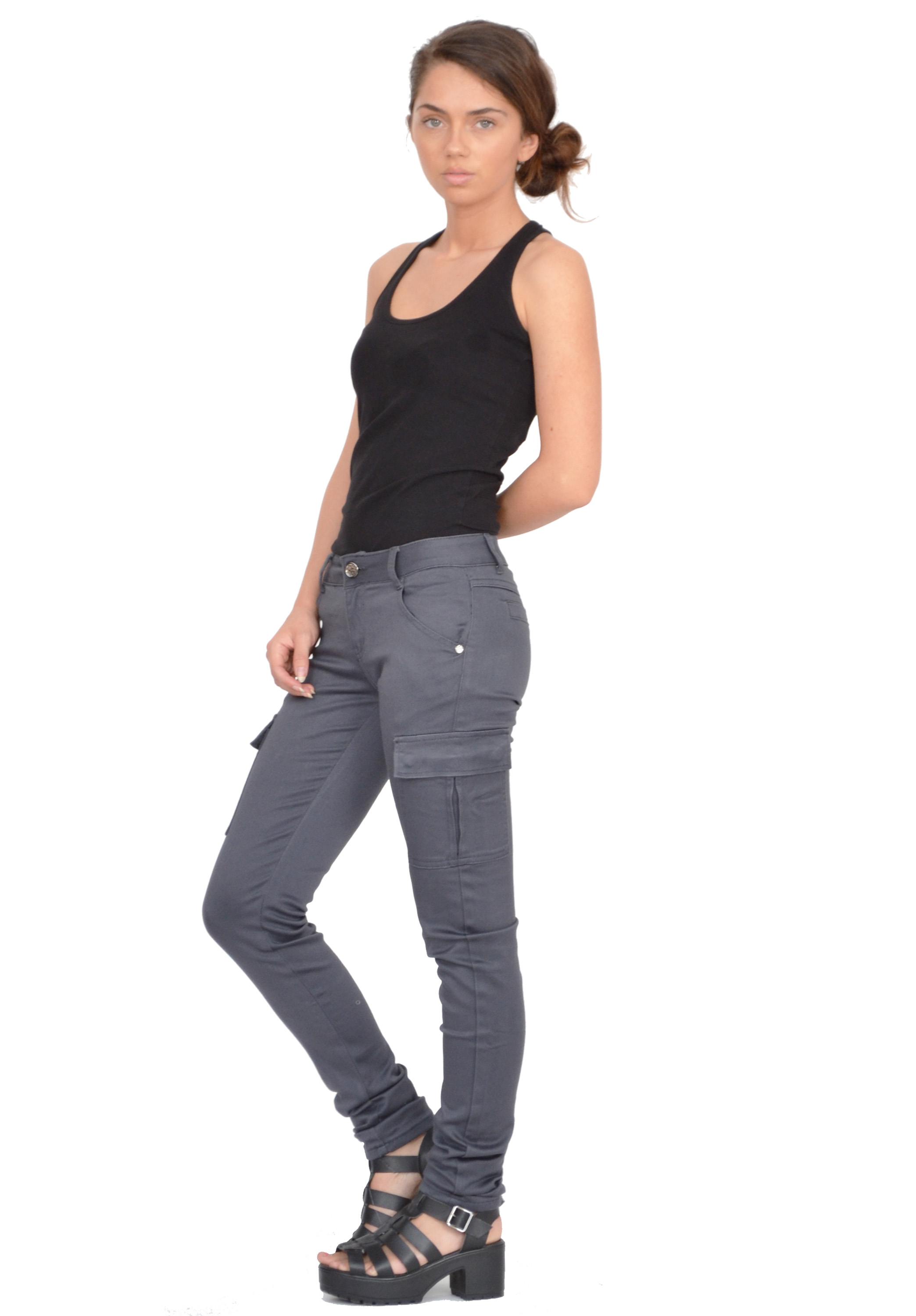 New Ladies Womens Grey Slim Fitted Combat Pants Skinny Cargo ...