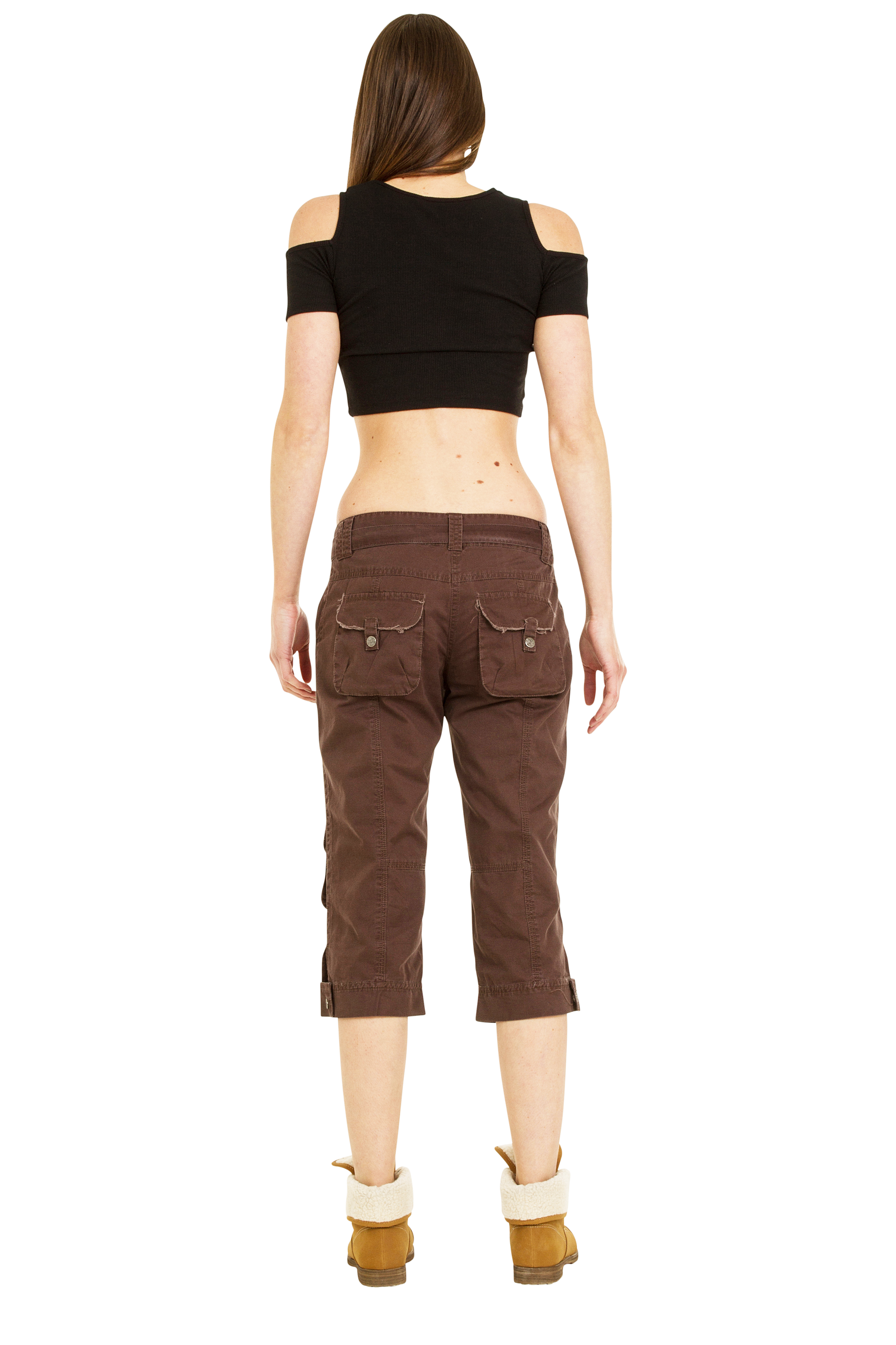 Excellent New Womens Brown Slim Fitted Combat Pants Skinny Cargo Trousers Boyfriend Jeans | EBay