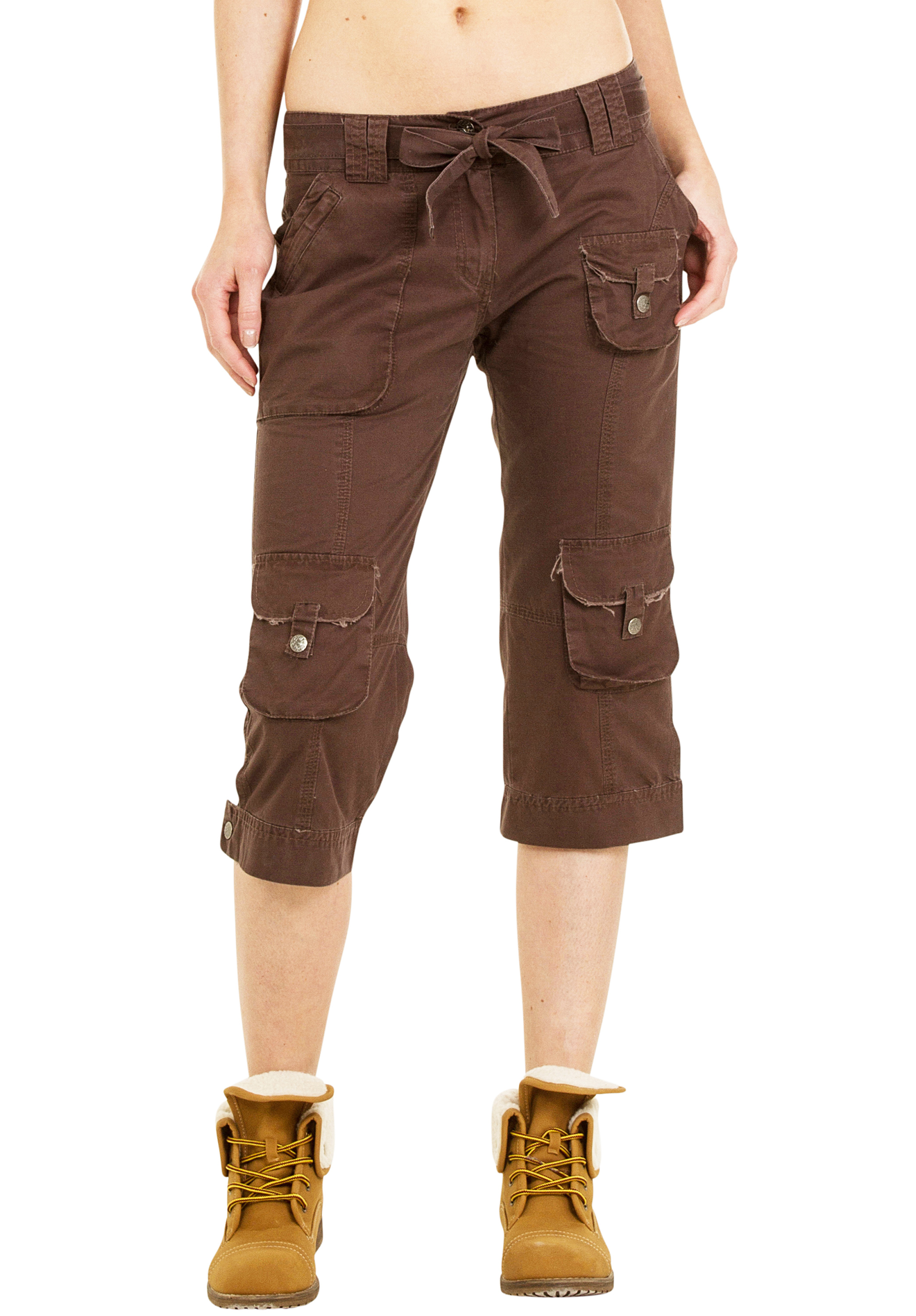 Beautiful Da Nang Womens Crop Capri Cargo Work Pants Long Shorts Pockets Army