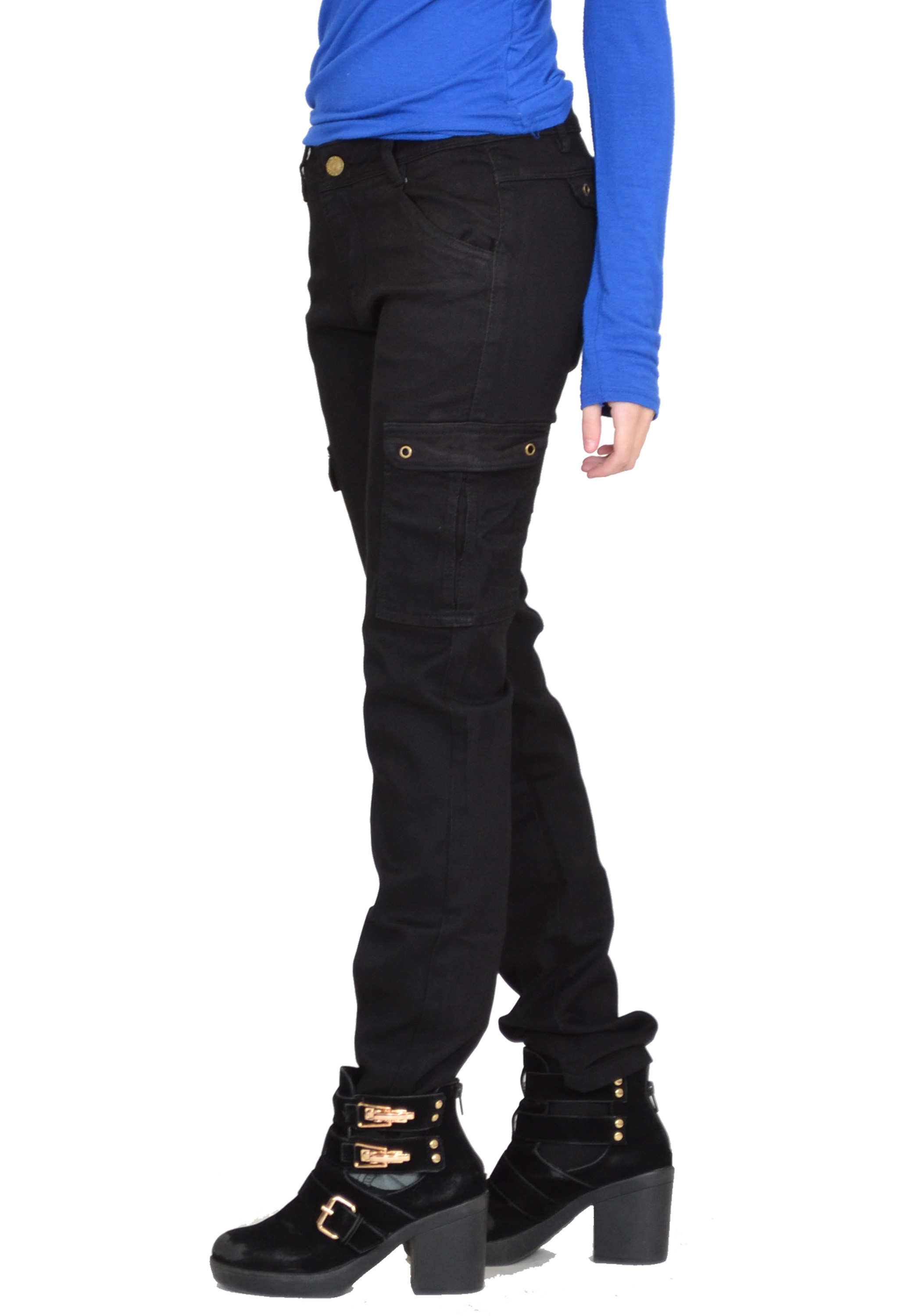 New Womens Ladies Black Slim Fitted Stretch Combat Pants Cargo ...