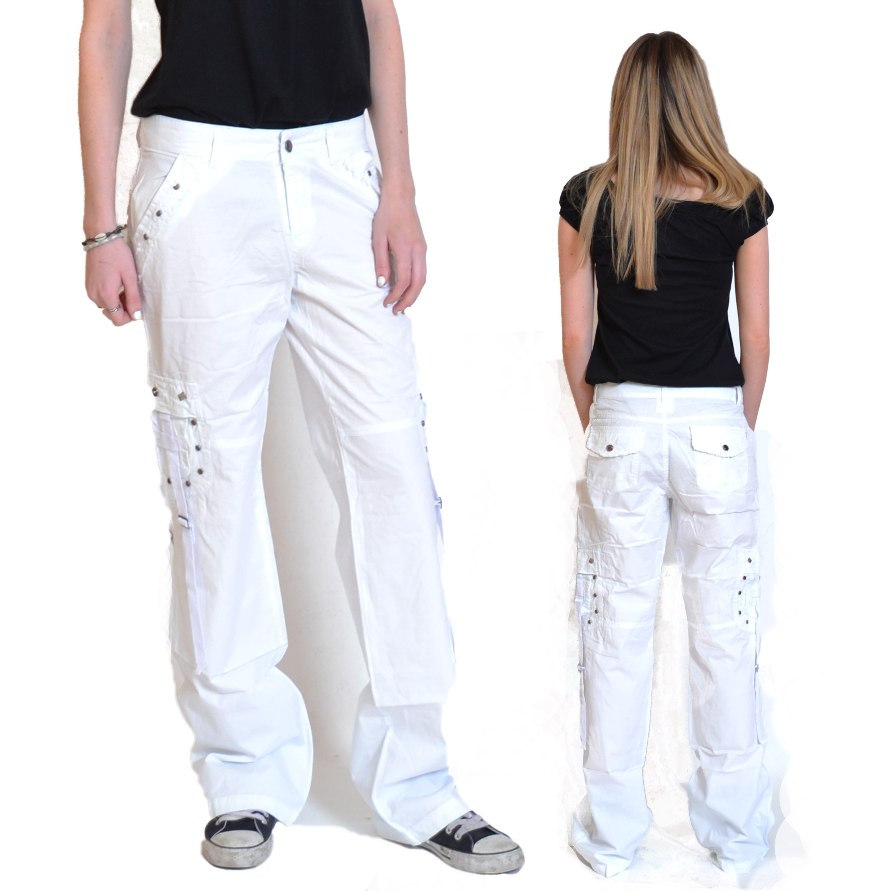 New Womens White Lightweight Combat Trousers Cargo Jeans Loose ...