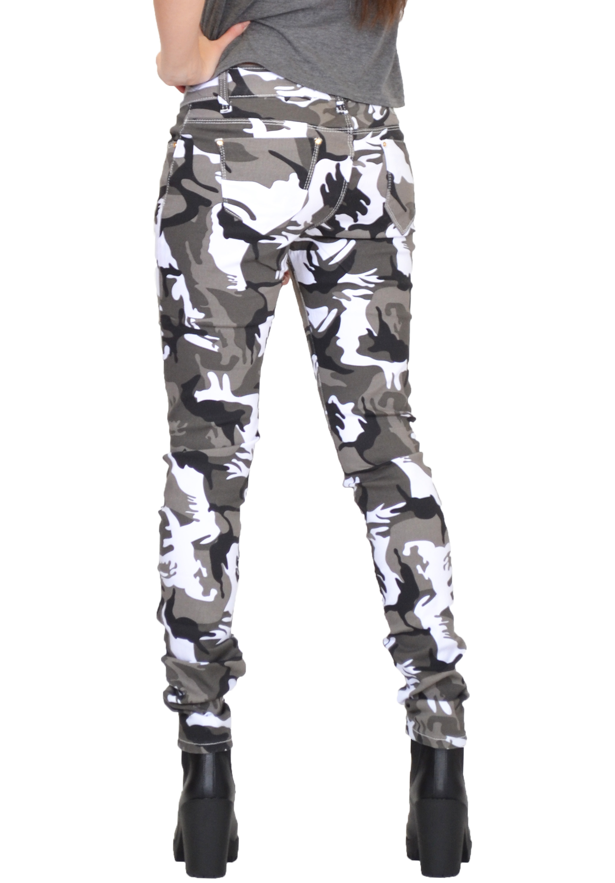New Womens Army Military White Khaki Camouflage Skinny