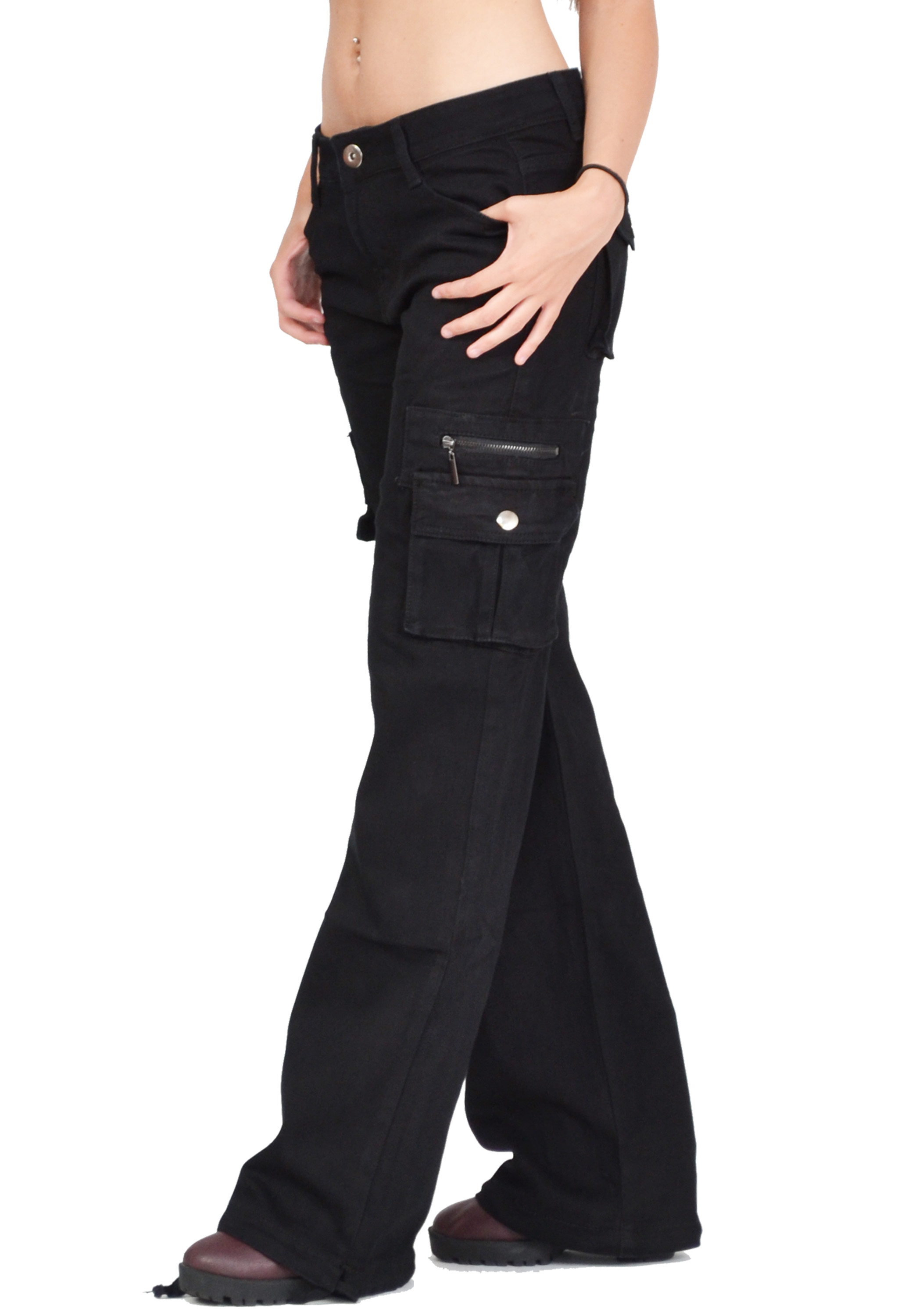 New Womens Black Cargo Work Pants Cargo Pants  Black