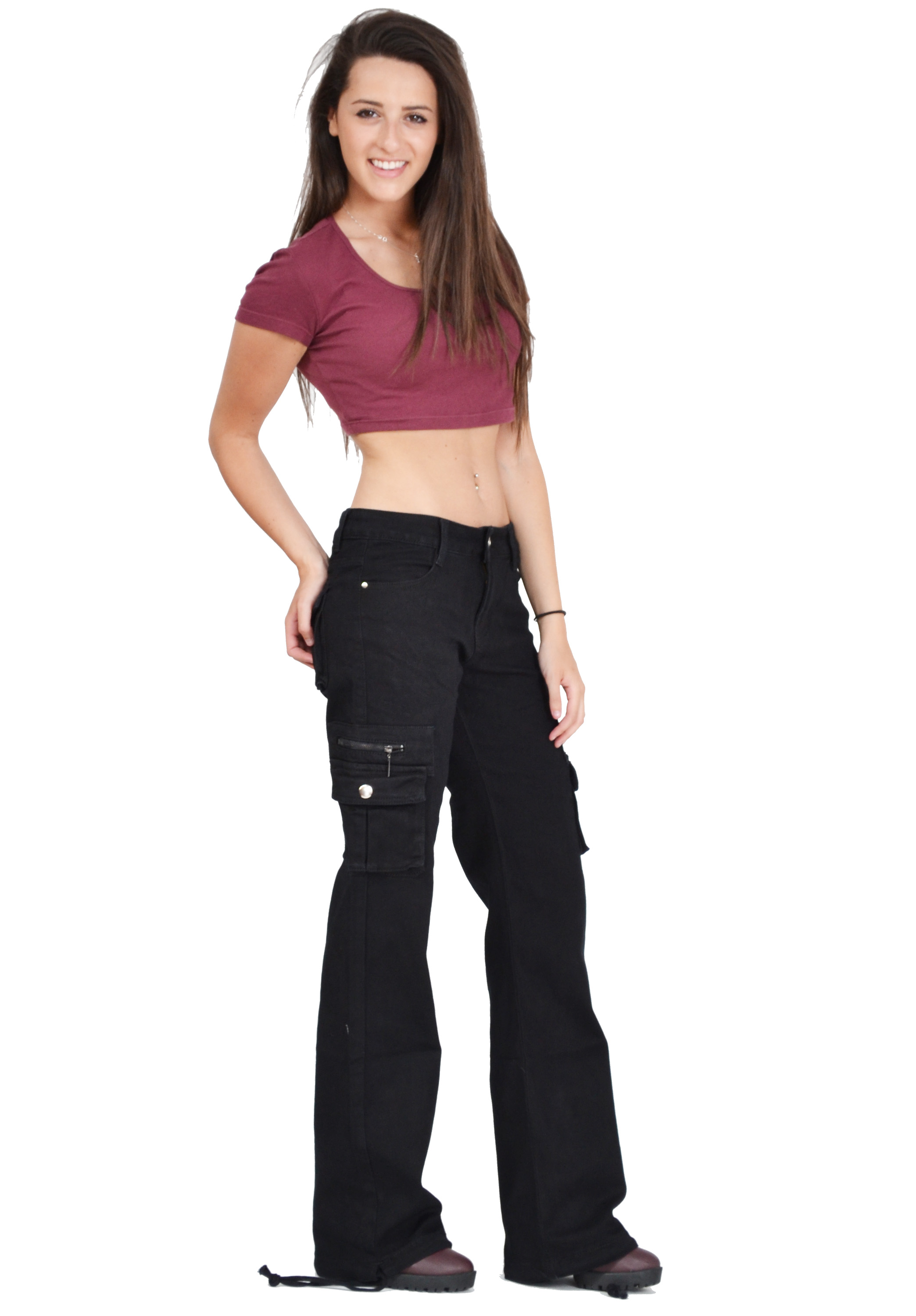 New Womens Ladies Black Wide Loose Combat Trousers Cargo Jeans ...