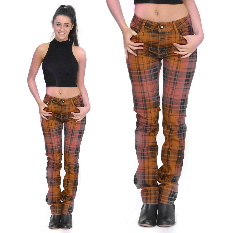 Orange Tartan Checked Plaid Skinny Slim Fitted Stretch Pants Punk ...