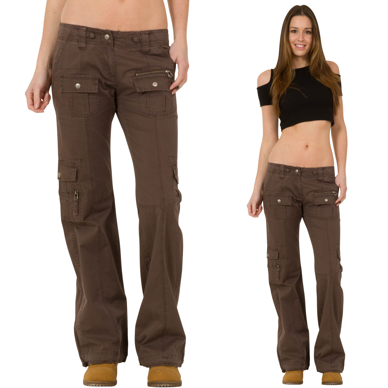 New Womens Ladies Brown Lightweight Wide Loose Leg Cargo Pants ...
