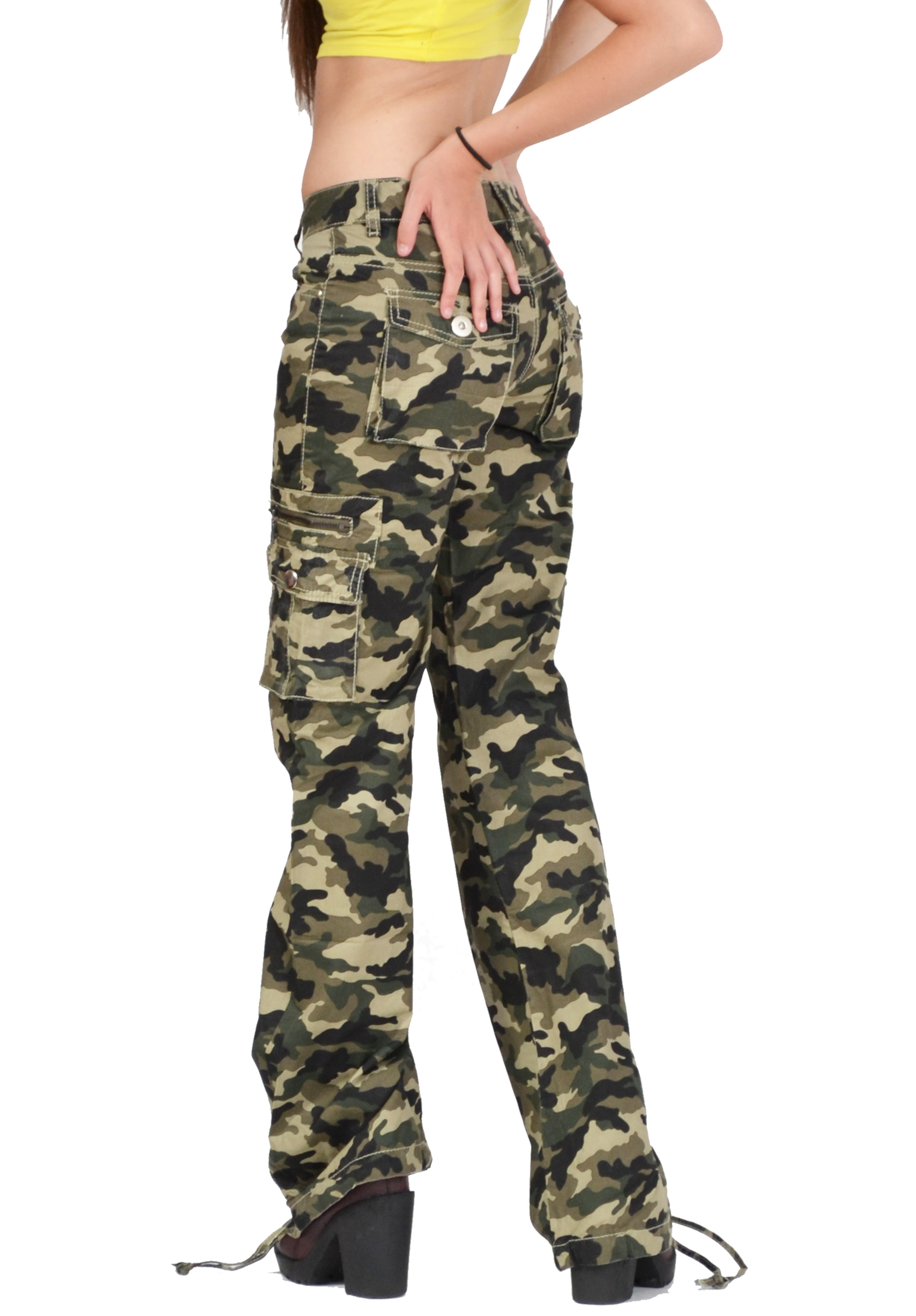 Brilliant Womens Army Military Green Camouflage Slim Fit Combat Trousers Cargo